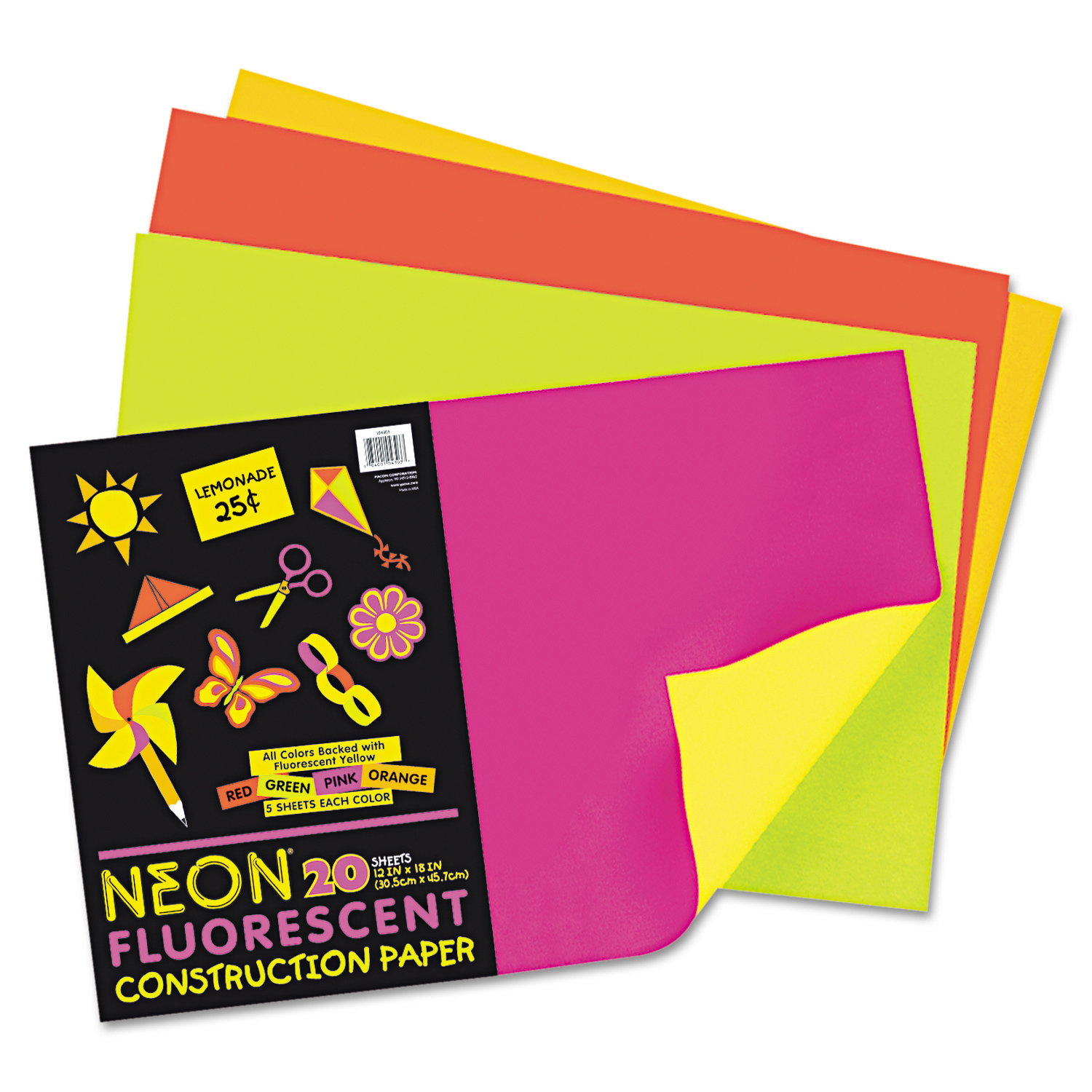 "Pacon® Neon Construction Paper, 12"" x 18"", 76 Lb, Assorted Colors, Pack Of 20"