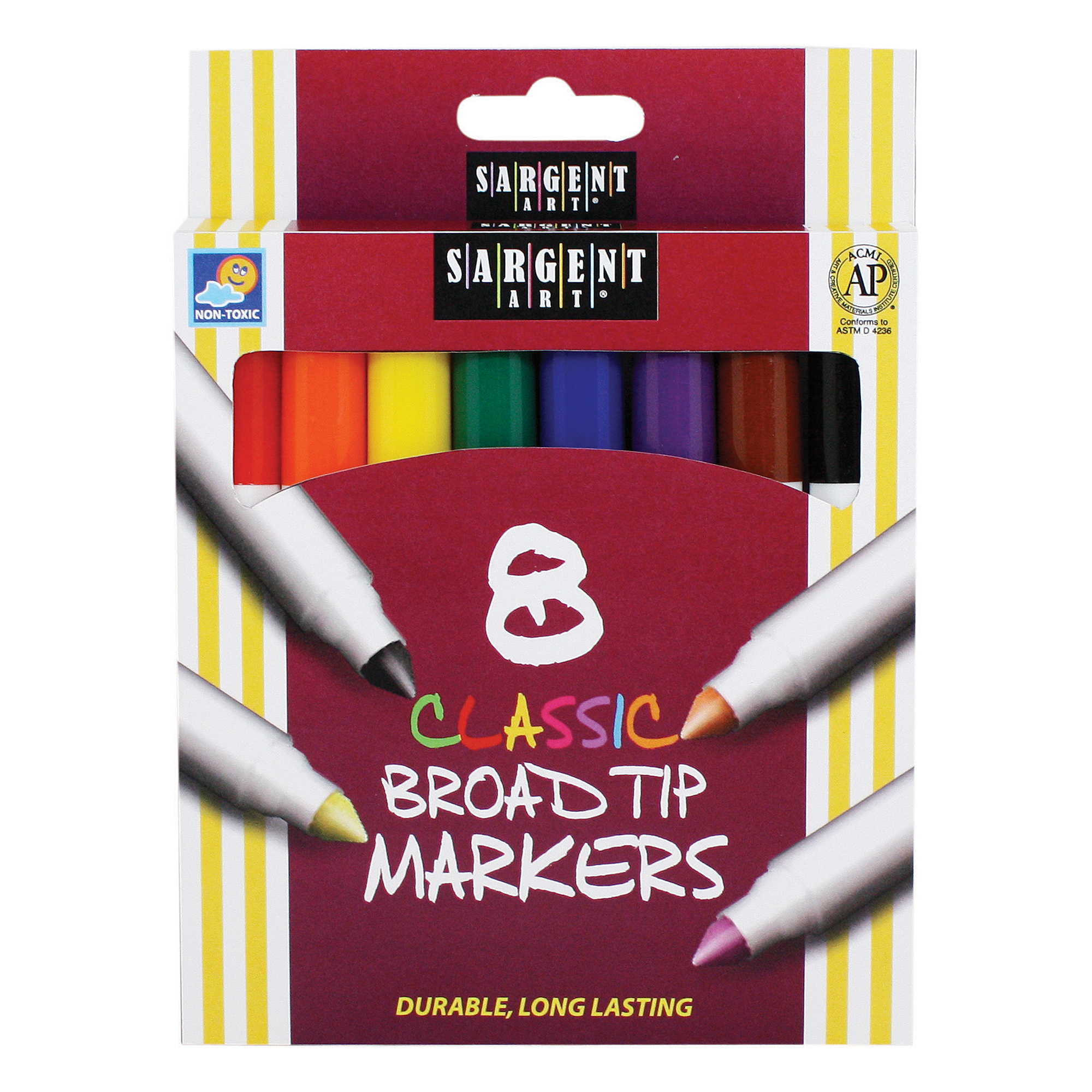 Sargent Art Classic Markers, Broad Tip, Assorted Colors, Box Of 8