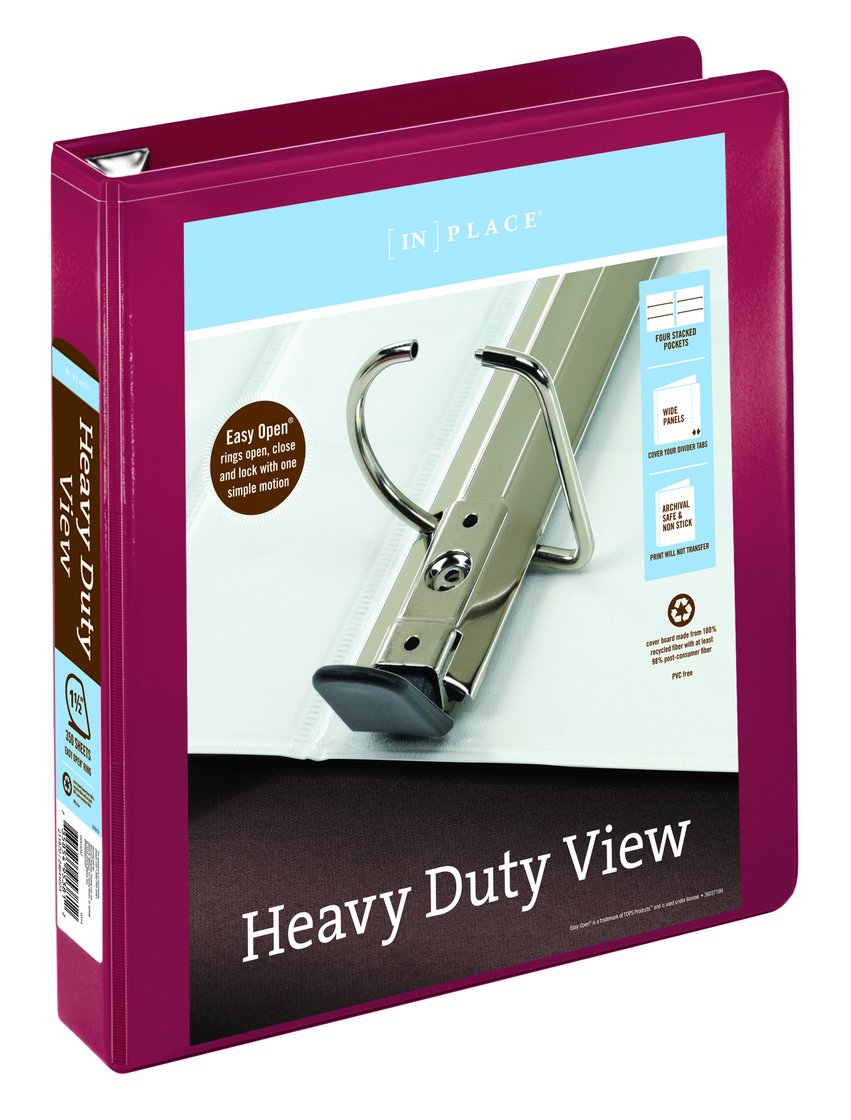 """Office Depot® Brand Heavy-Duty D-Ring View Binder, 1 1/2"""" Rings, 54% Recycled, Dark Red"""