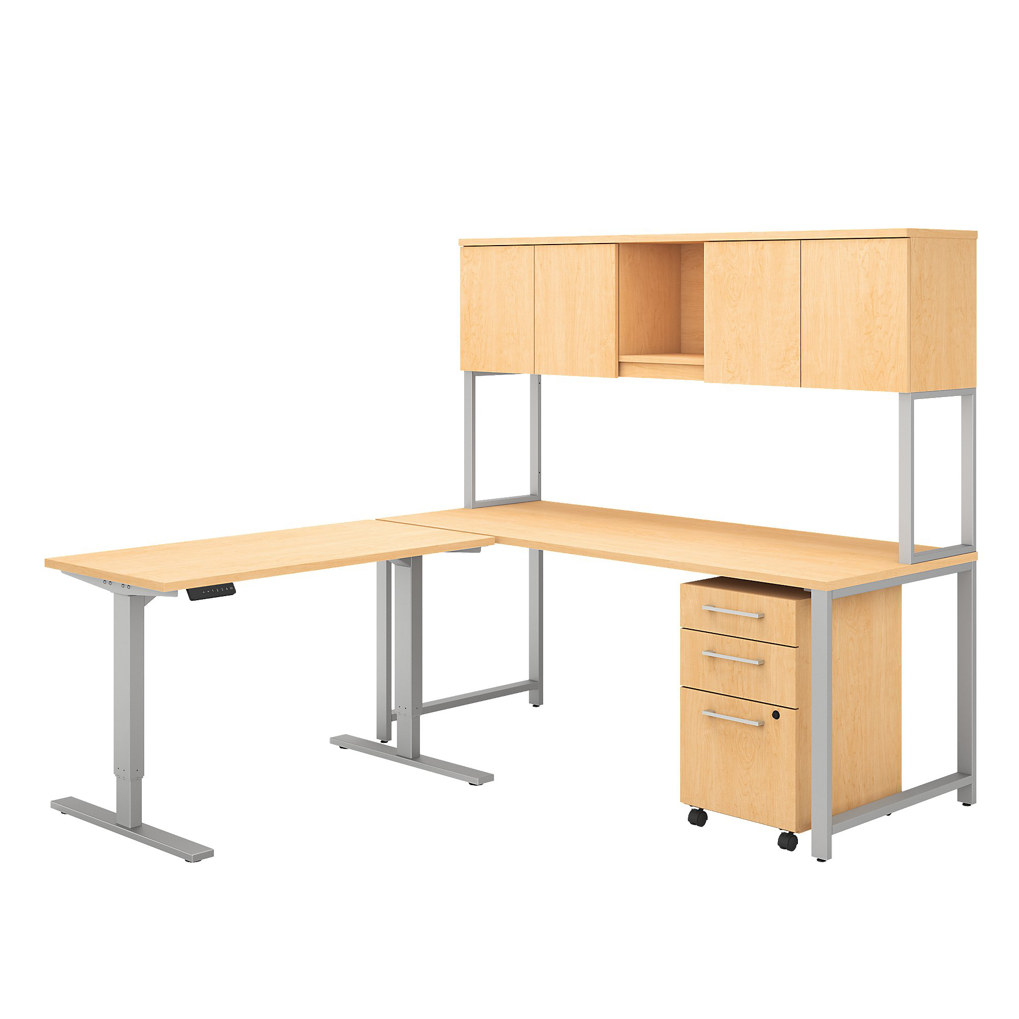 "Bush Business Furniture 400 Series 72""W L Shaped Desk And Height Adjustable Return With Hutch And Storage, Natural Maple, Premium Installation"