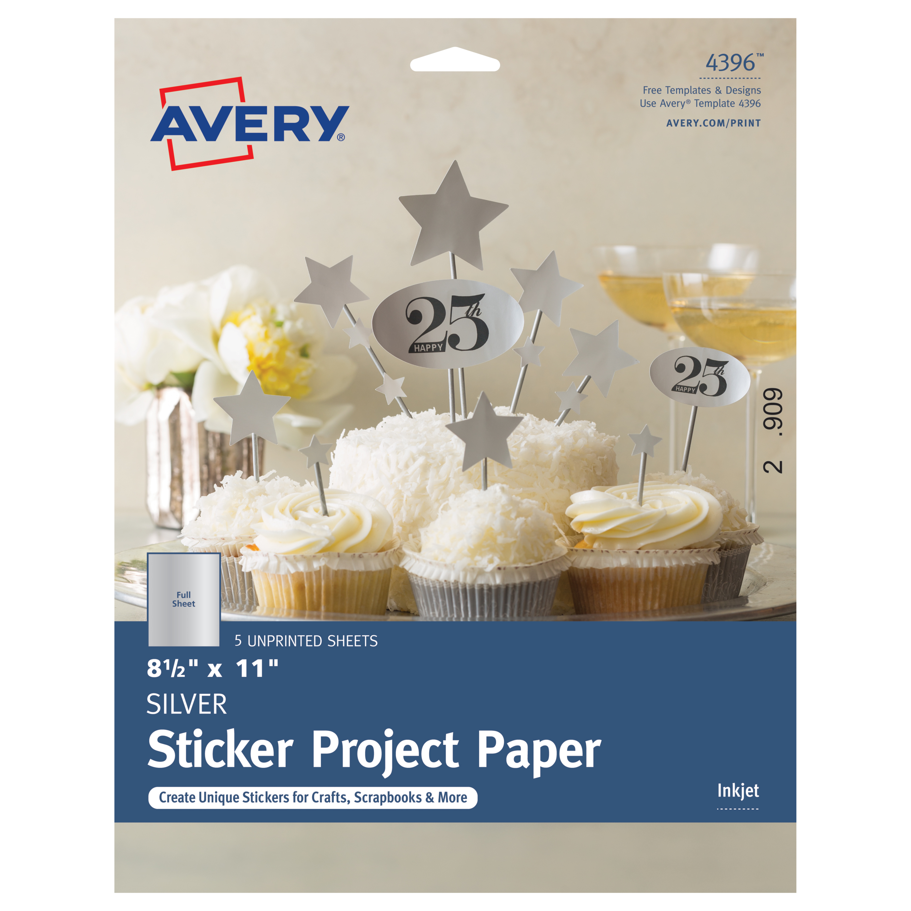 "Avery® Full-Sticker Project Paper, 4396, 8 1/2"" x 11"", Matte, Silver, 5 Sheets"
