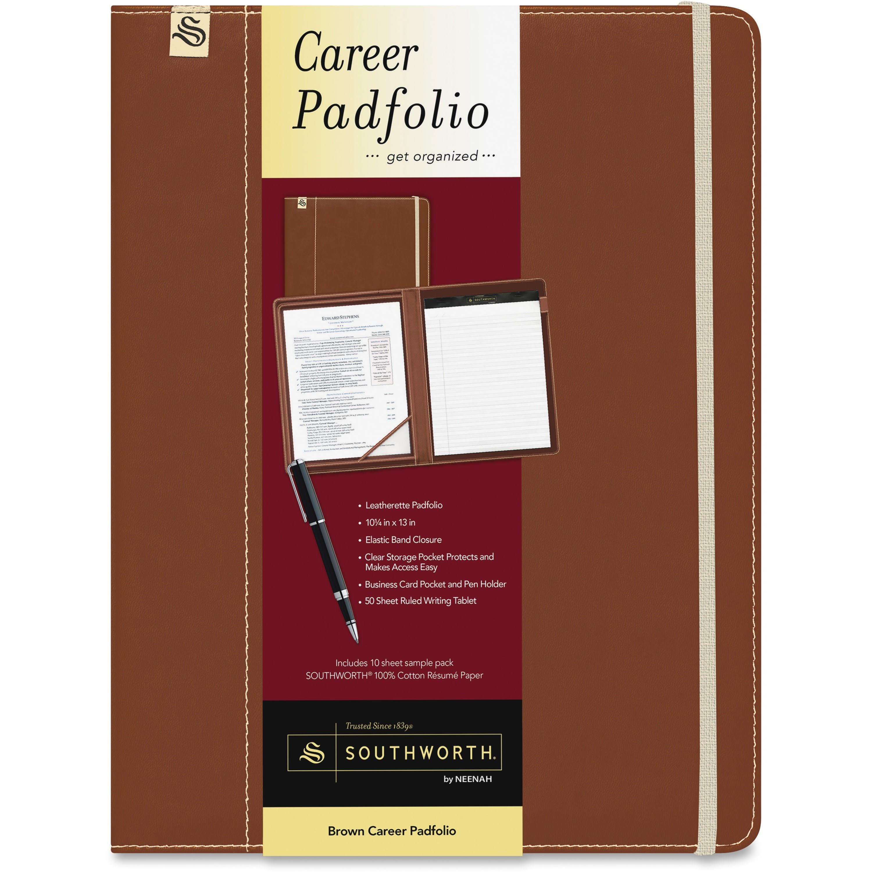 Southworth Leatherette Career Padfolio - Leatherette - Brown, Sand - 1 Each