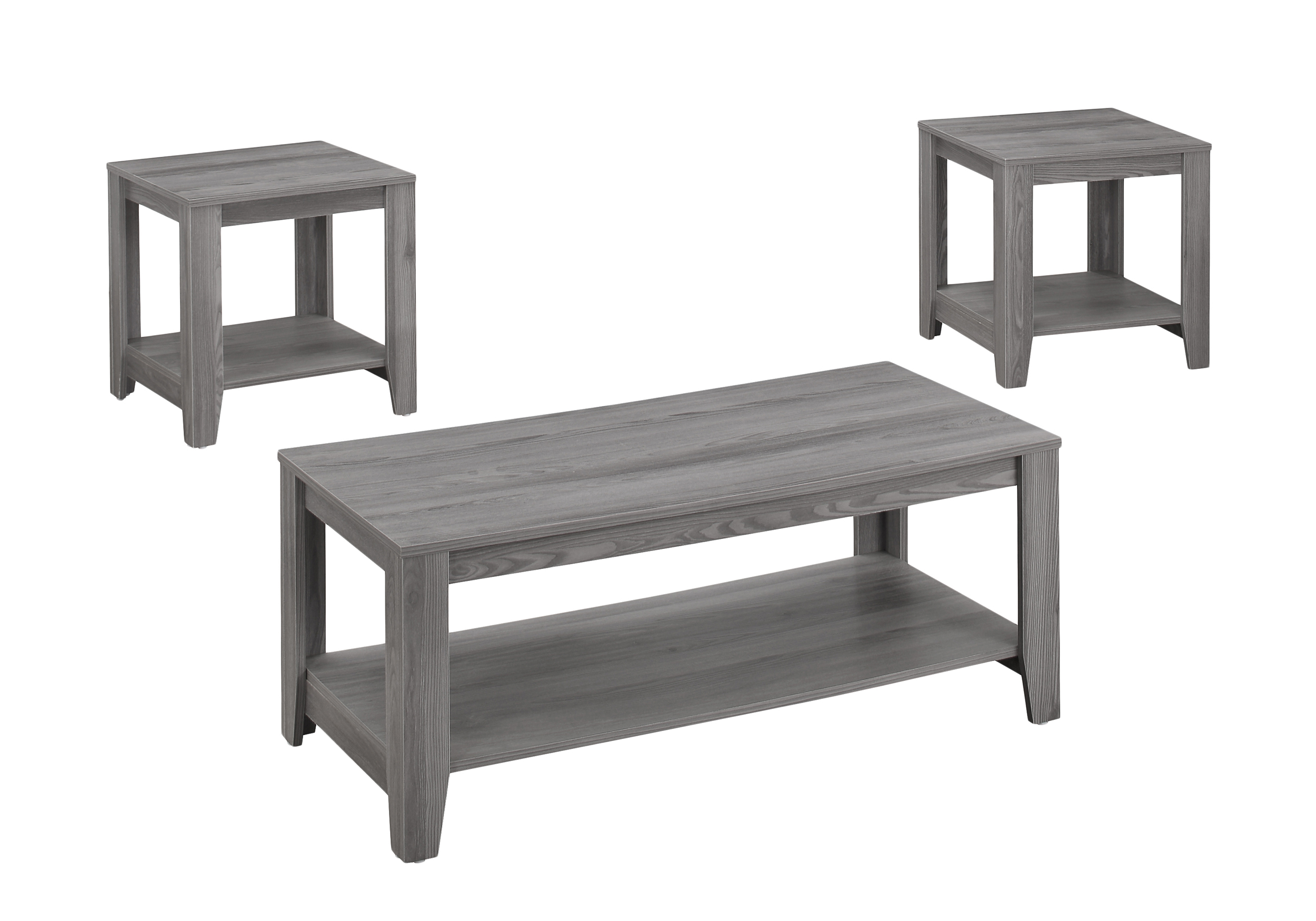 Monarch Specialties 3-Piece Coffee Table Set With Shelves, Rectangle, Gray Sonoma Oak