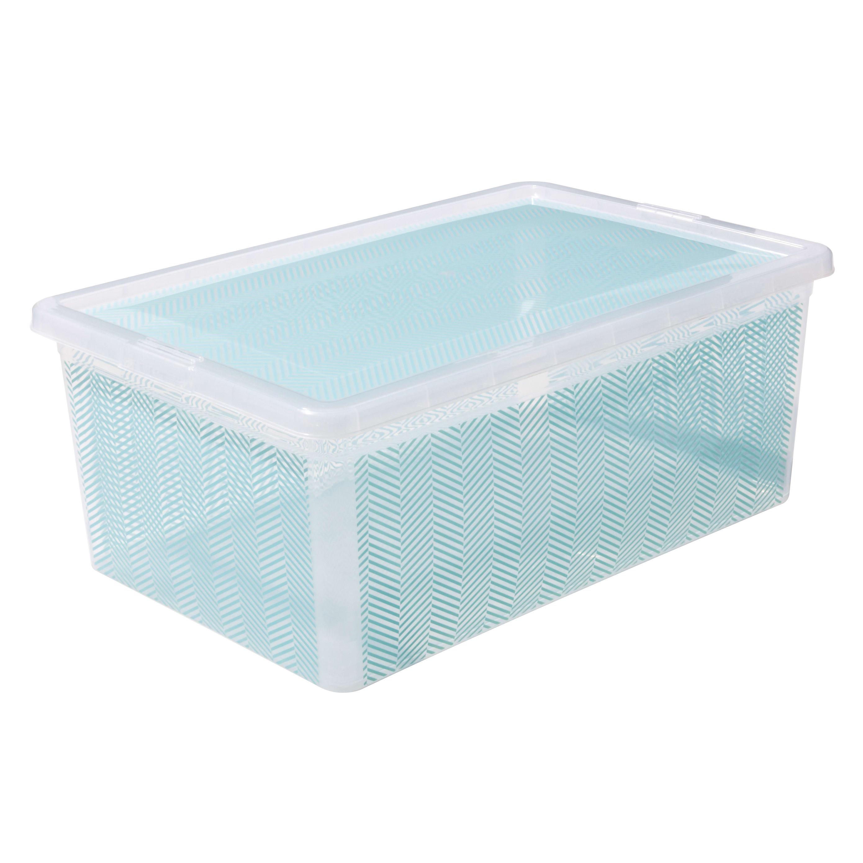 """See Jane Work® Storage Box, 6 1/2""""H x 11""""W x 16 1/2""""D (Overall), Blue Herringbone"""