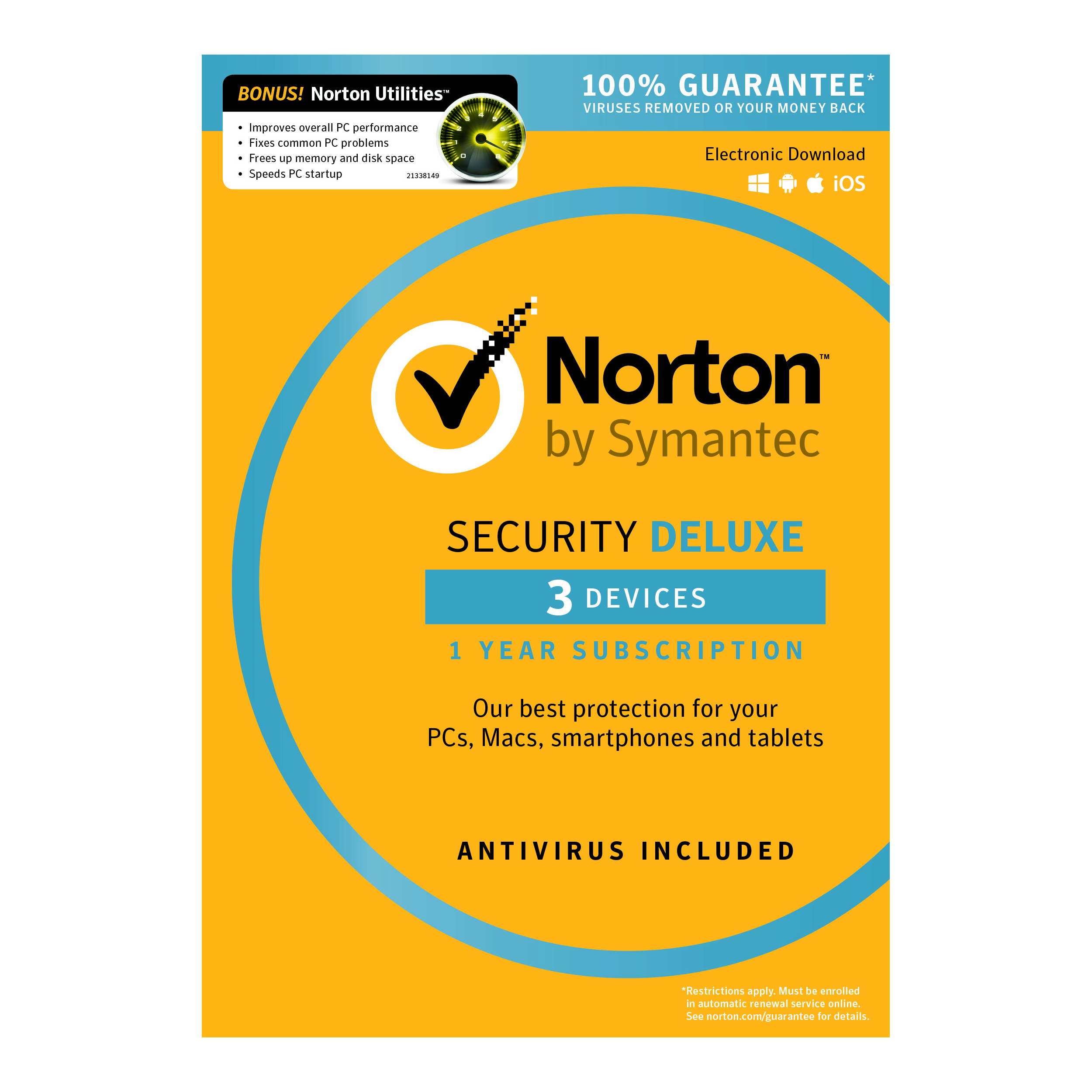 Norton™ Security Deluxe Plus Norton Utilities, 1-Year Subscription, For 3 PC/Mac® Devices, Product Key