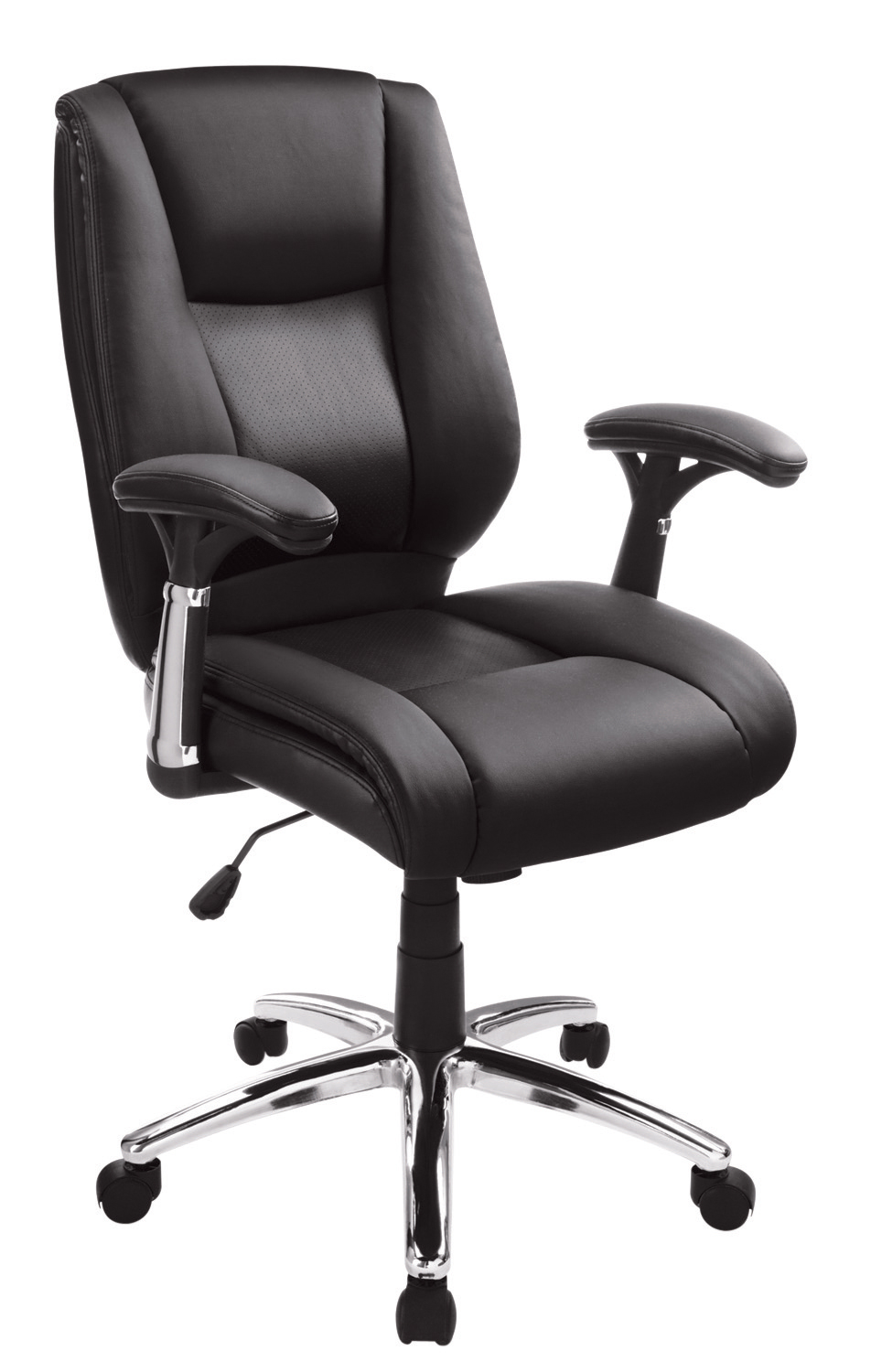 Realspace® Eaton Bonded Leather Manager Mid-Back Chair, Black