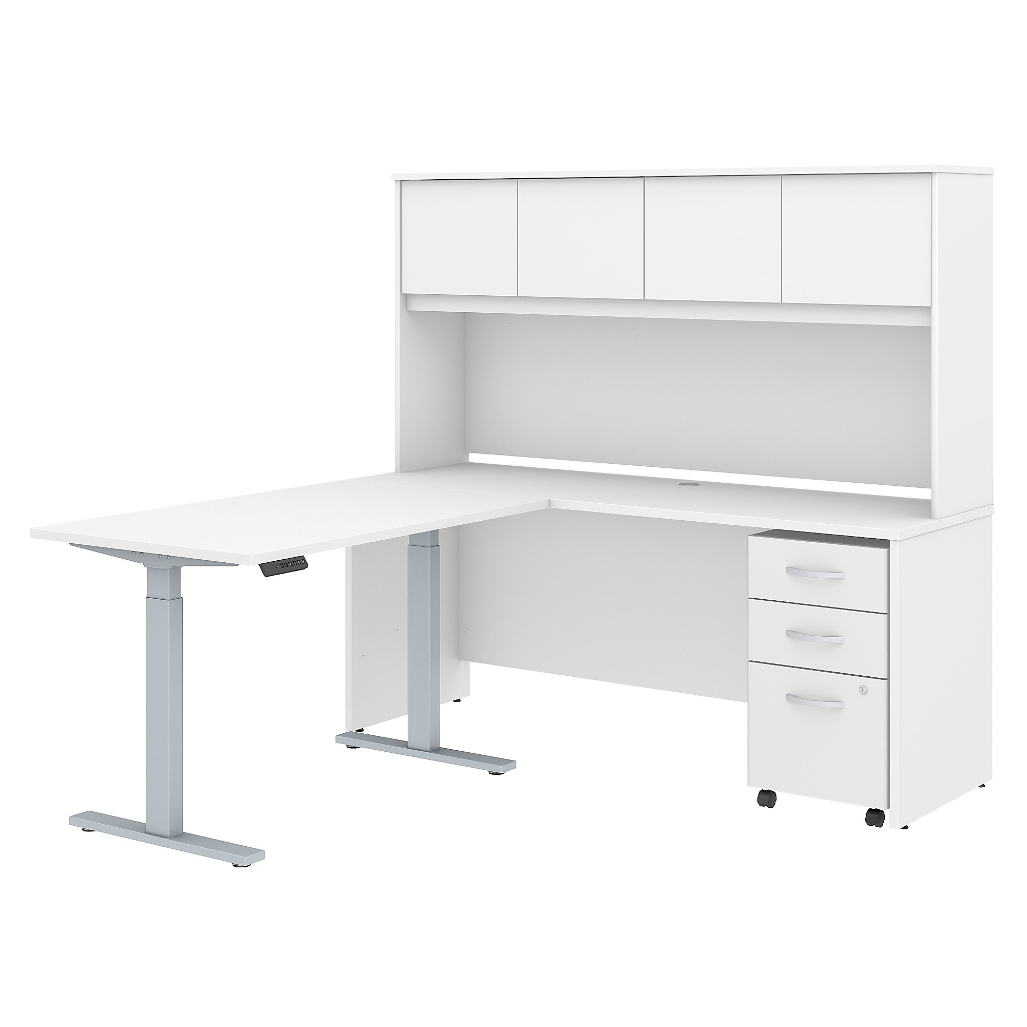 """Bush Business Furniture Studio C 72""""W x 24""""D L Shaped Desk with Hutch, 48""""W Height Adjustable Return and Storage, White, Standard Delivery"""