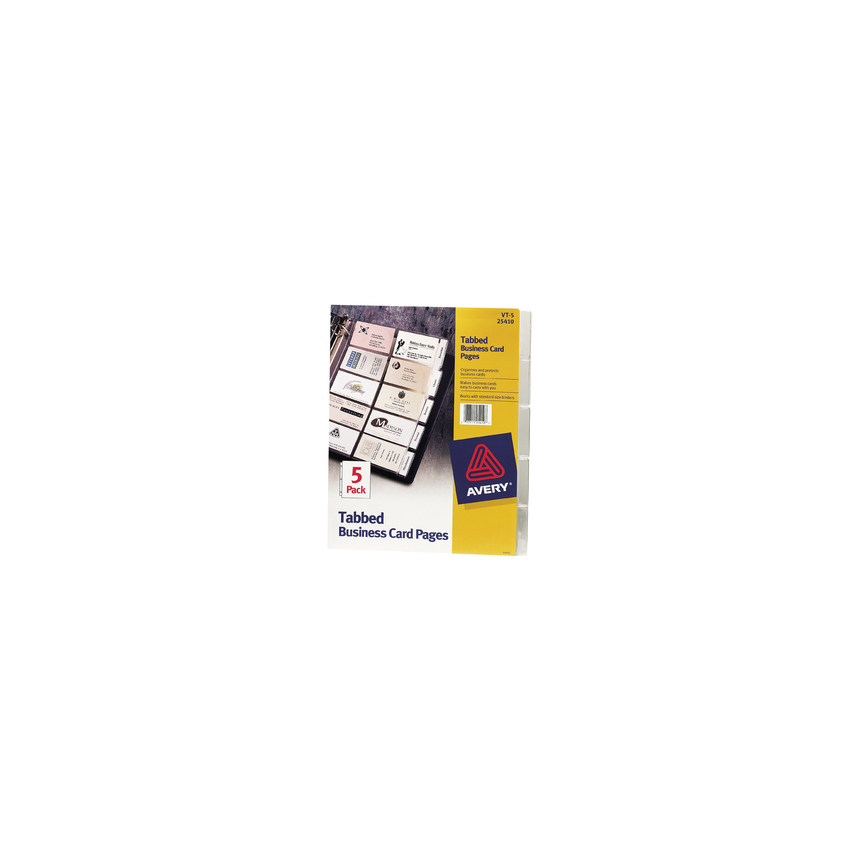 "Avery® Tabbed Business Card Pages, 9"" x 11"", Clear, Pack Of 5"