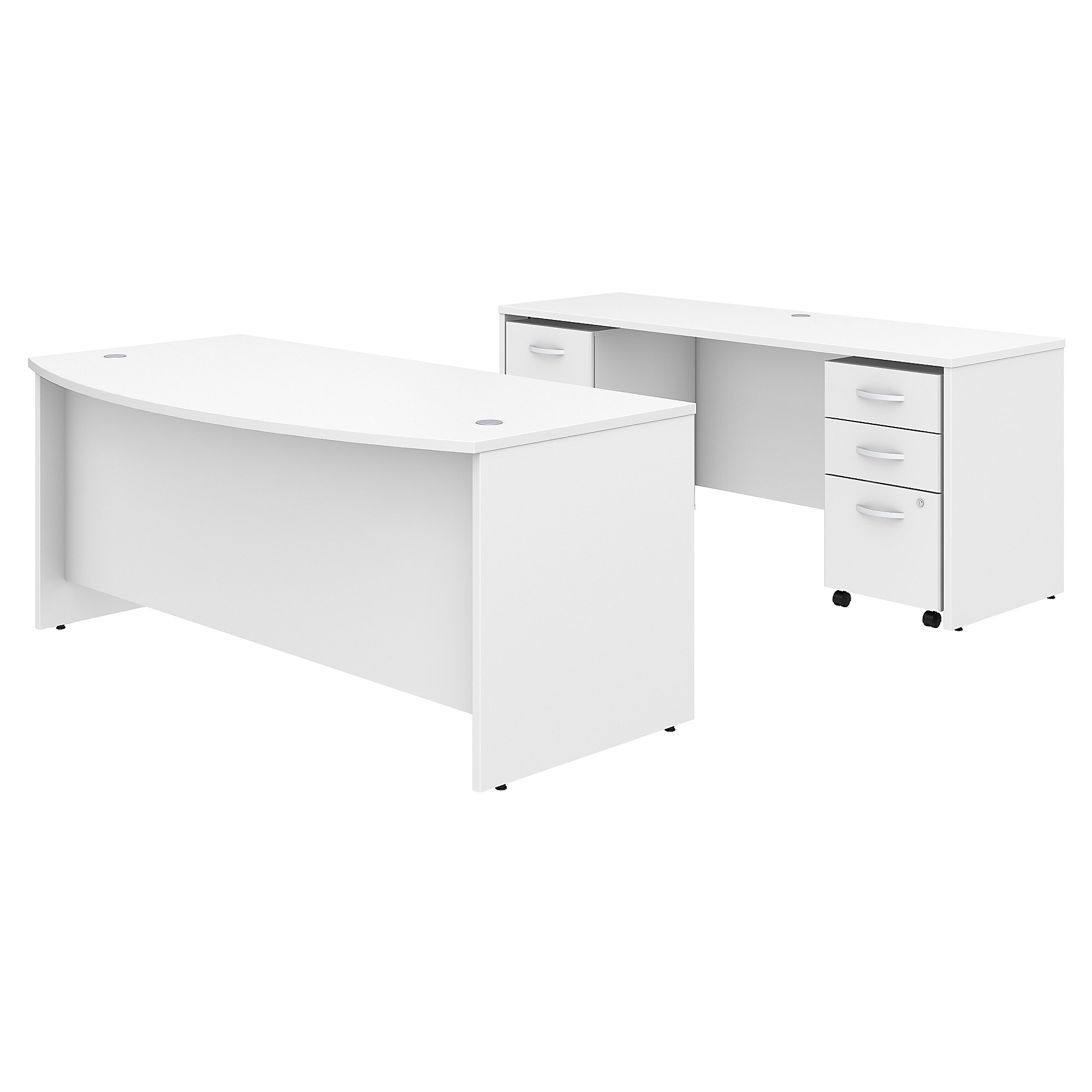"Bush Business Furniture Studio C Bow Front Desk and Credenza with Mobile File Cabinets, 72""W x 36""D, White, Premium Installation"
