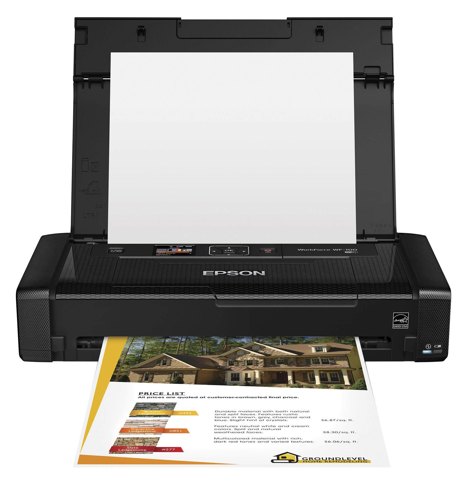 Epson® WorkForce® WF-100 Wireless Color Mobile Printer, C11CE05201