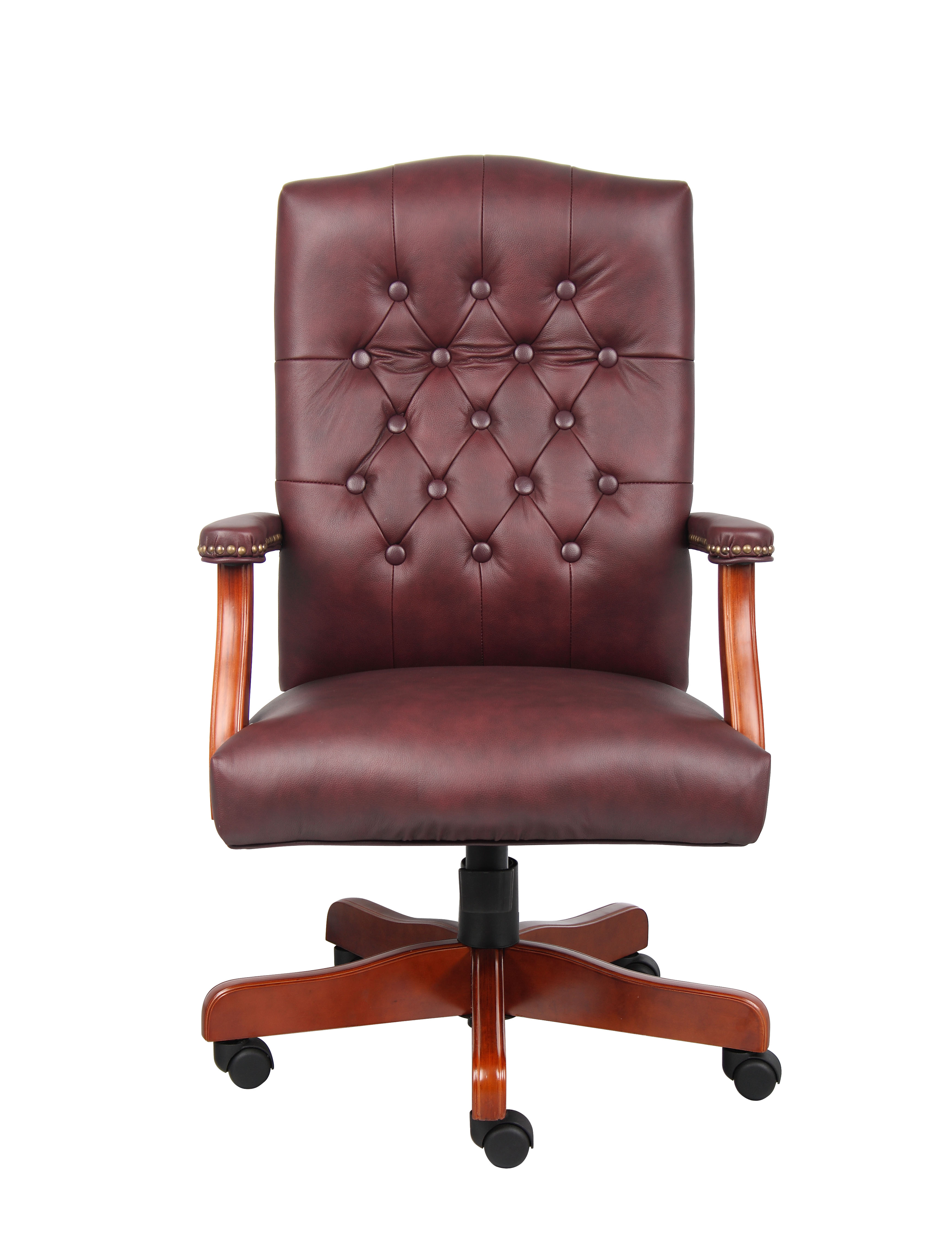"Boss Office Products Traditional High-Back Executive Chair, 41 1/2""H x 29""W x 32""D, Mahogany Frame, Burgundy Vinyl"