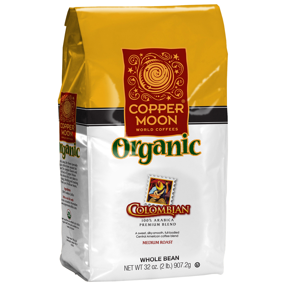 Copper Moon® World Coffees Whole Bean Coffee, Colombian Organic, 2 Lb, Carton Of 4 Bags