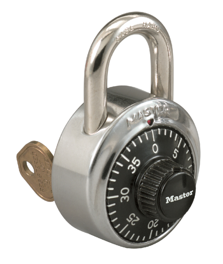 """Master Lock Stainless-Steel Combination Padlock With Key Control, 2-7/8"""" x 1-7/8"""""""