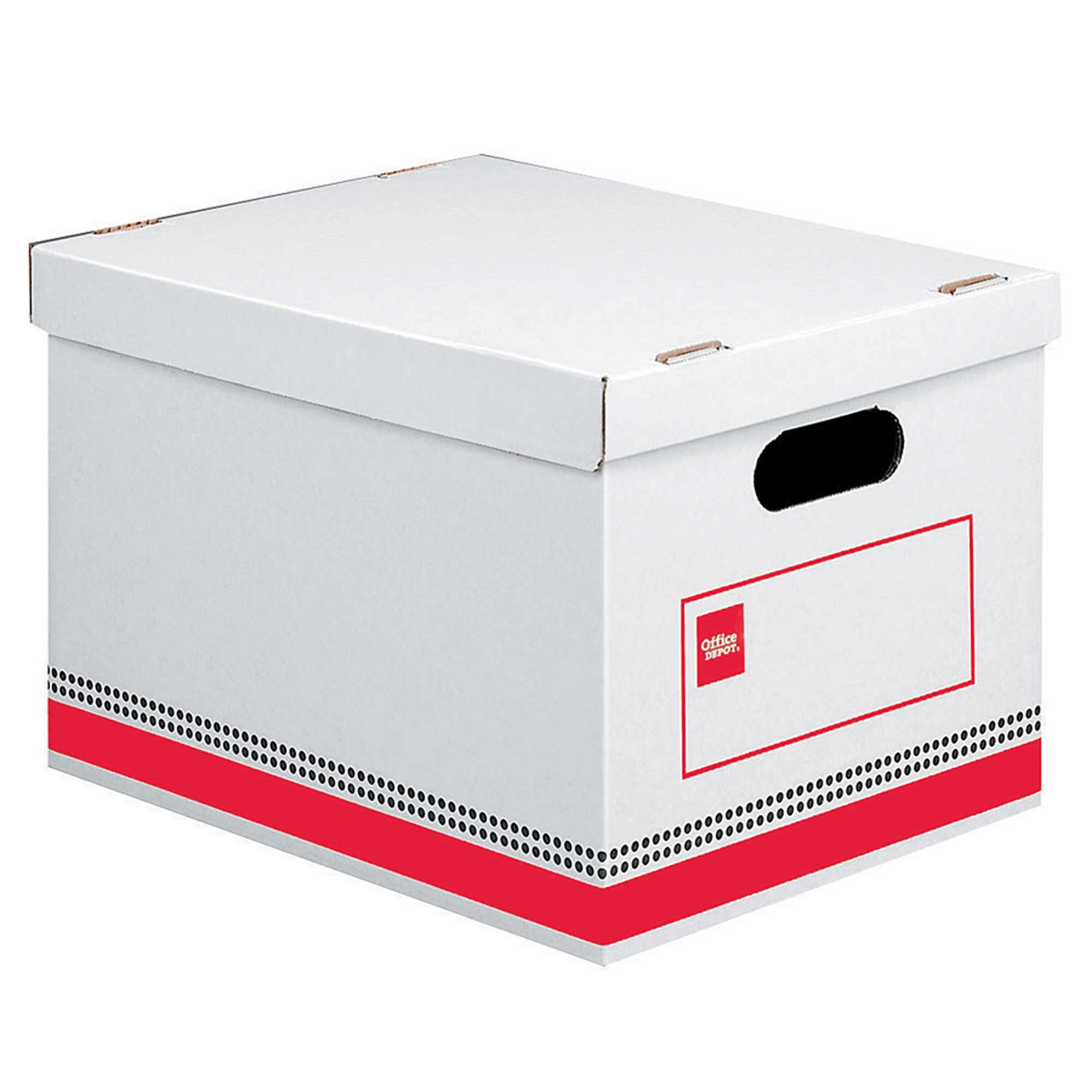 "Office Depot® Brand Economy Storage Boxes, 15"" x 12"" x 10"", Letter/Legal Size, 60% Recycled, Red/White, Pack Of 12"