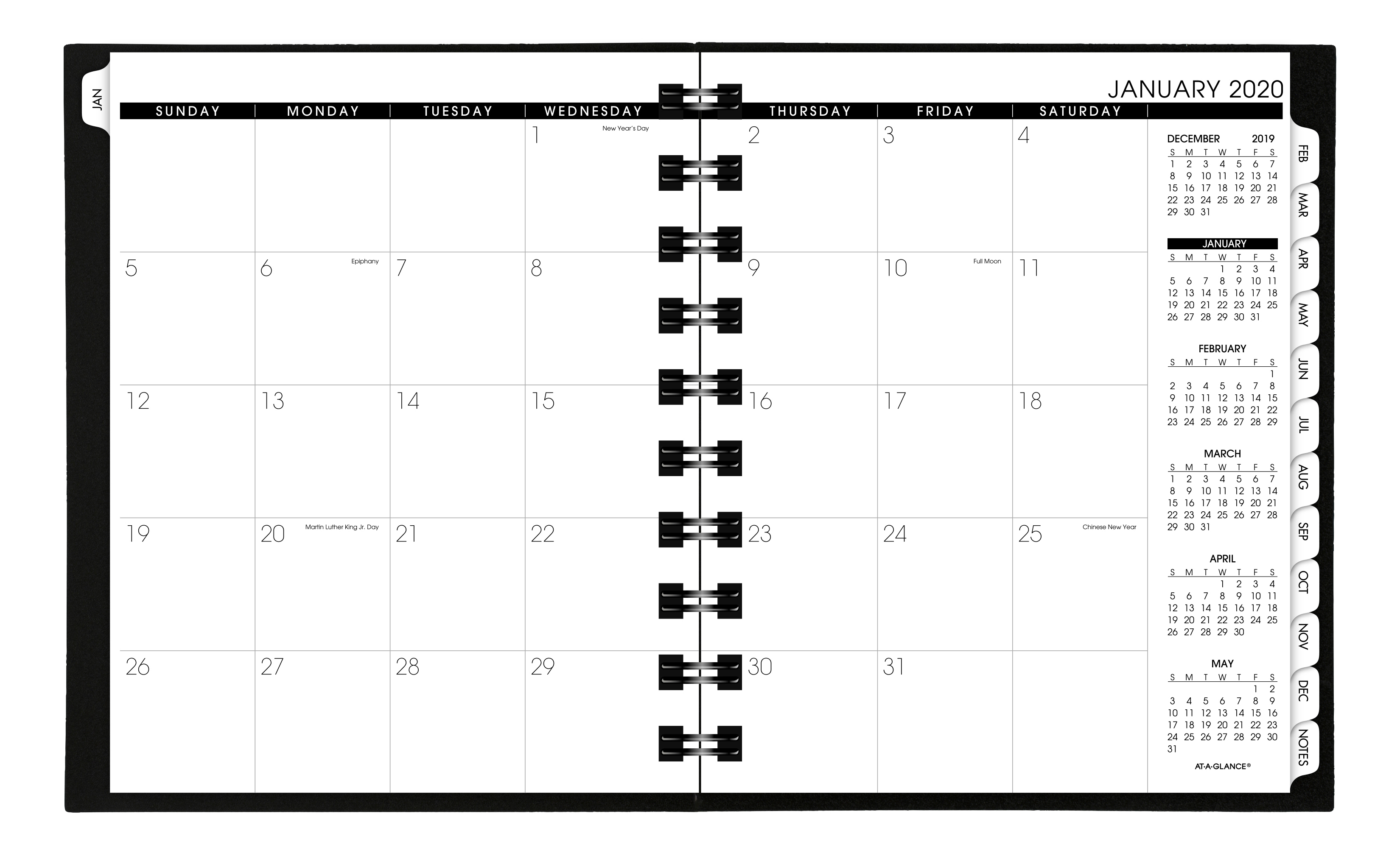 """AT-A-GLANCE® Move-A-Page Weekly/Monthly Appointment Book/Planner, 8-3/4"""" x 11"""", Black, January to December 2020"""