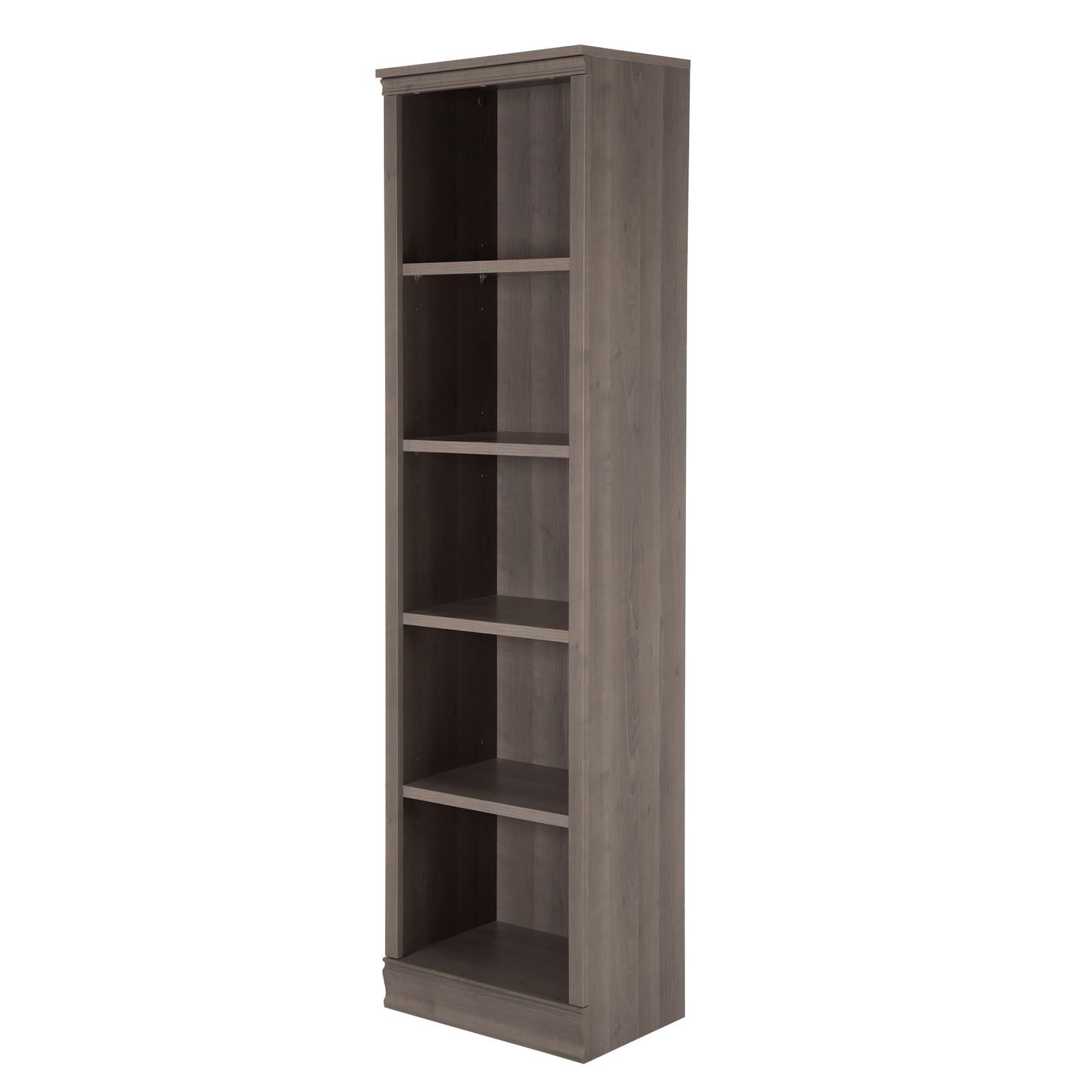 South Shore Morgan 5-Shelf Narrow Bookcase, Gray Maple