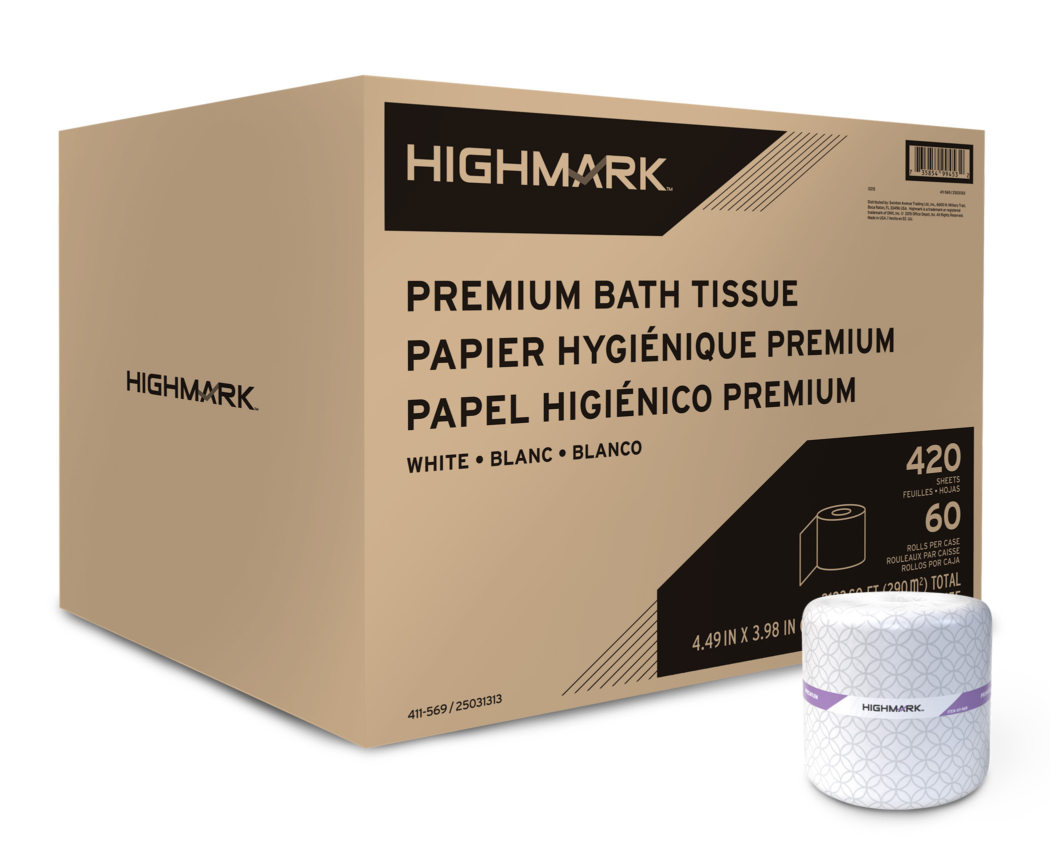 Highmark® Premium 2-Ply Toilet Paper, White, 420 Sheets Per Roll, Case Of 60 Rolls