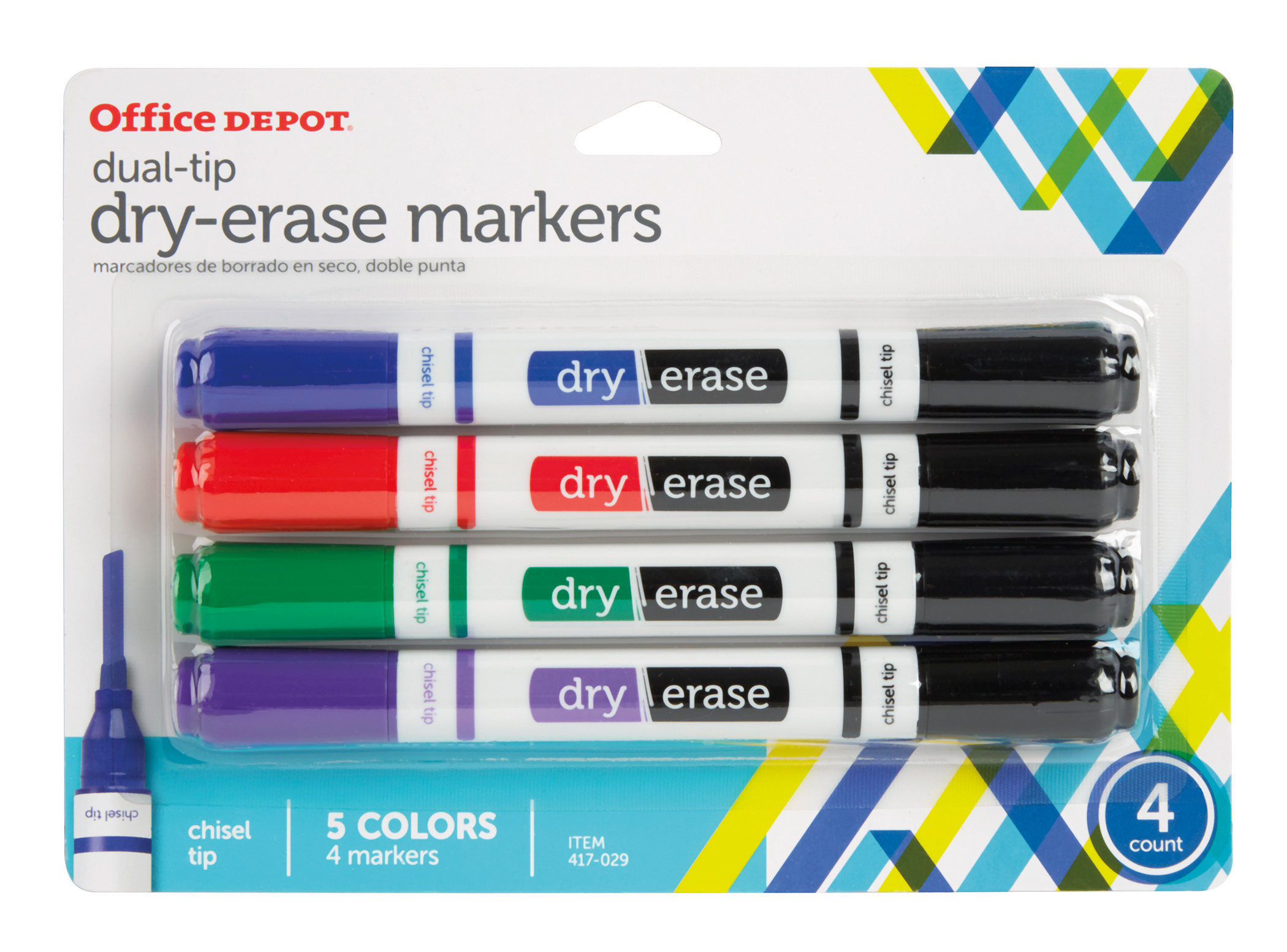 Office Depot® Brand Dual-Tip Dry-Erase Markers, Chisel Point, White Barrels, Assorted Ink Colors, Pack Of 4