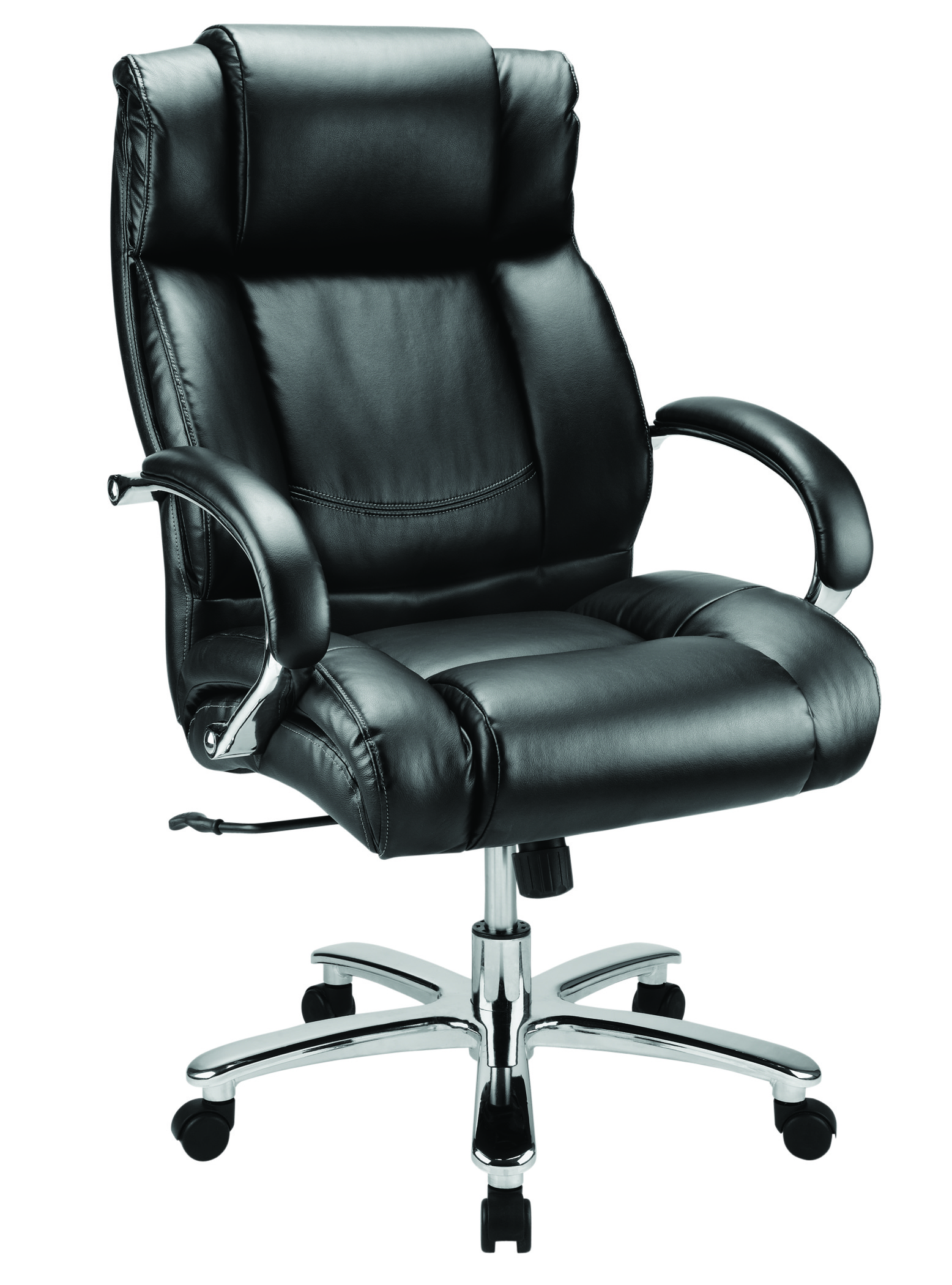 WorkPro® 15000 Big And Tall Bonded Leather High-Back Chair, Black/Silver