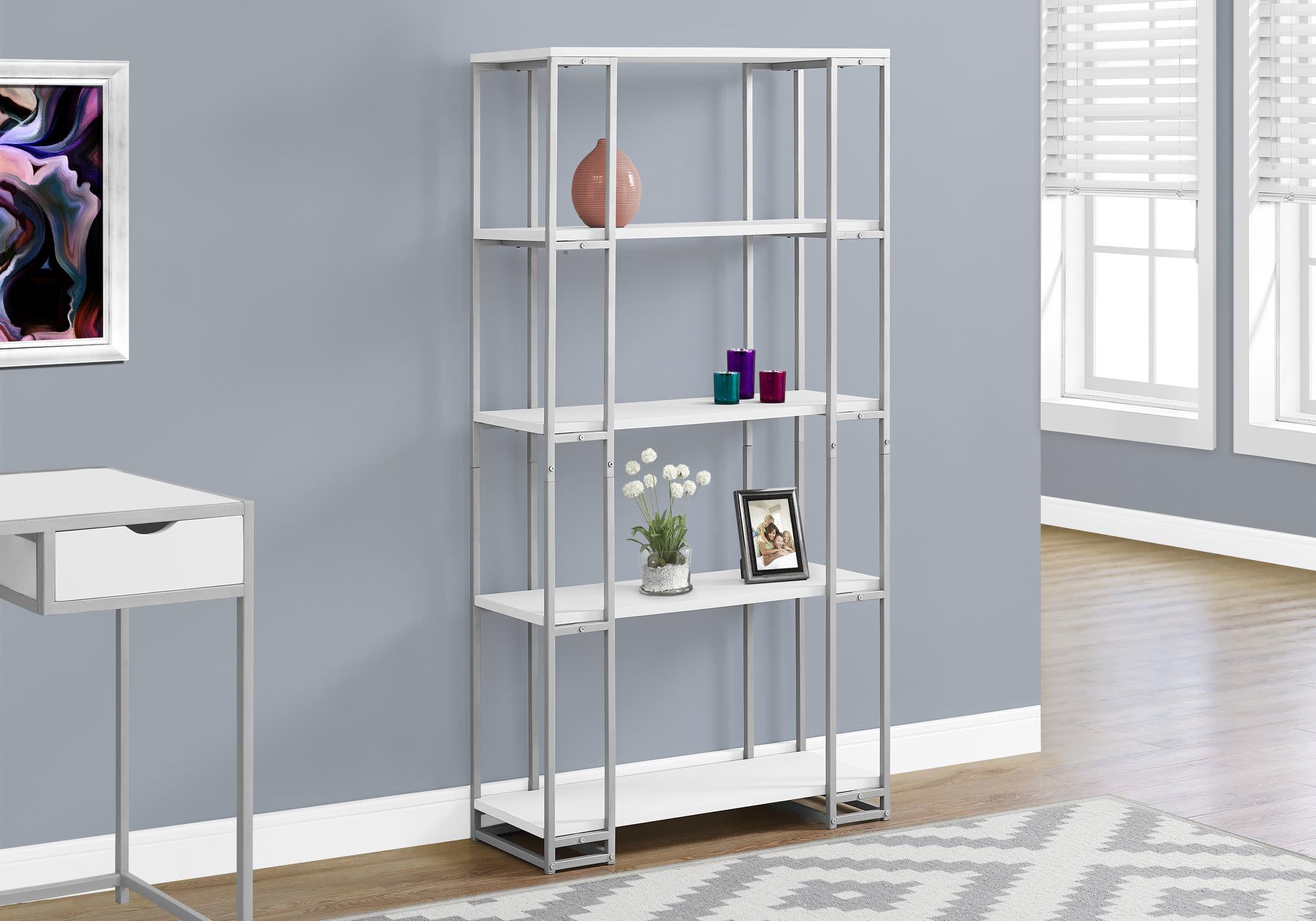 Monarch Specialties 4-Shelf Contemporary Metal Bookcase, White/Silver
