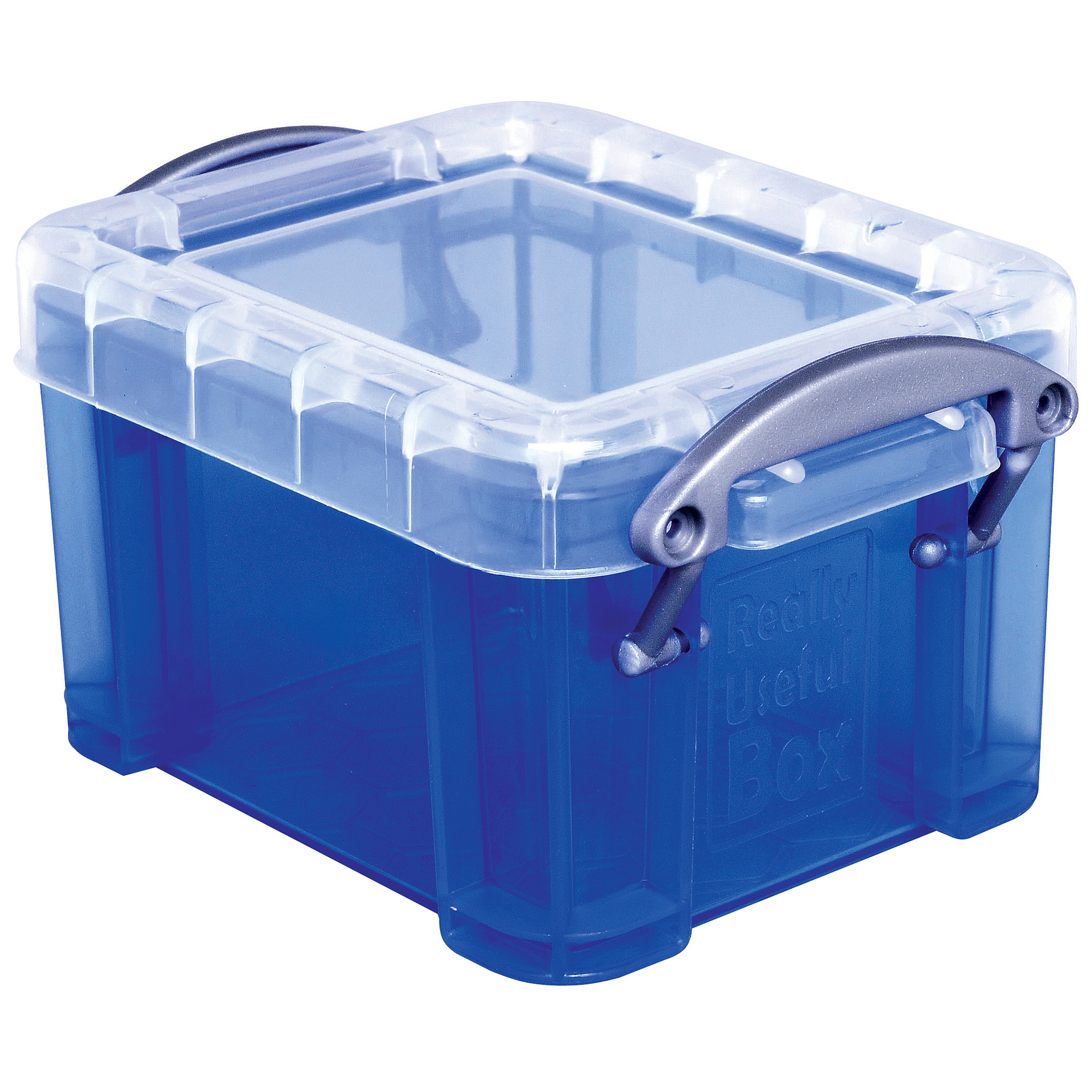 """Really Useful Box® Plastic Storage Container With Built-In Handles And Snap Lid, 0.14 Liter, 3 1/4"""" x 2 1/2"""" x 2"""", Blue"""