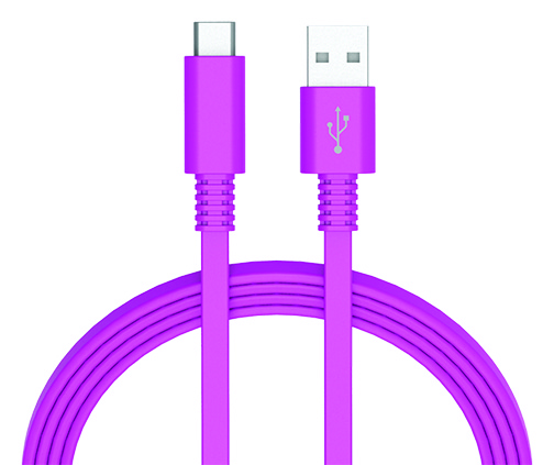 Ativa® Flat USB Type-C-To-USB-Type-A Cable, 6', Violet, 41457