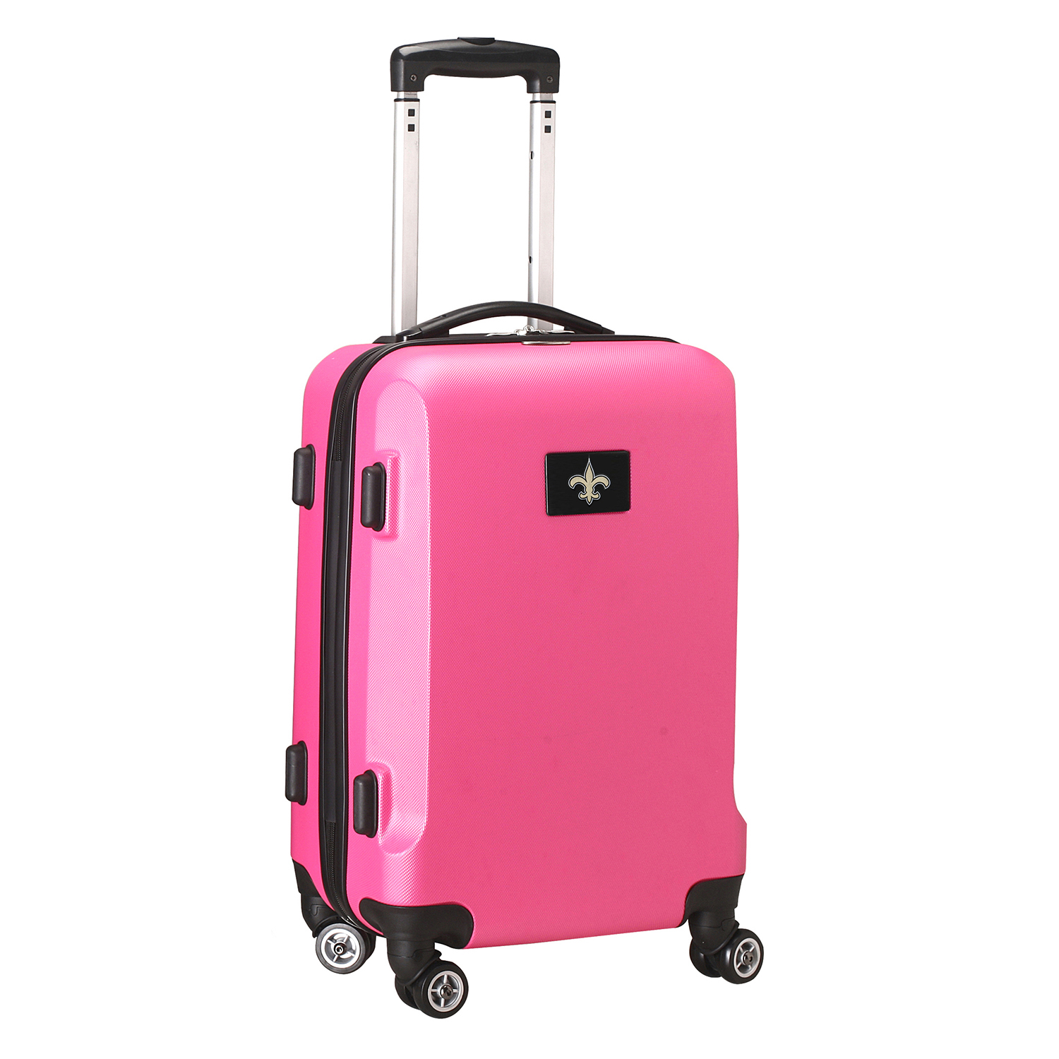 "Denco 2-In-1 Hard Case Rolling Carry-On Luggage, 21""H x 13""W x 9""D, New Orleans Saints, Pink"