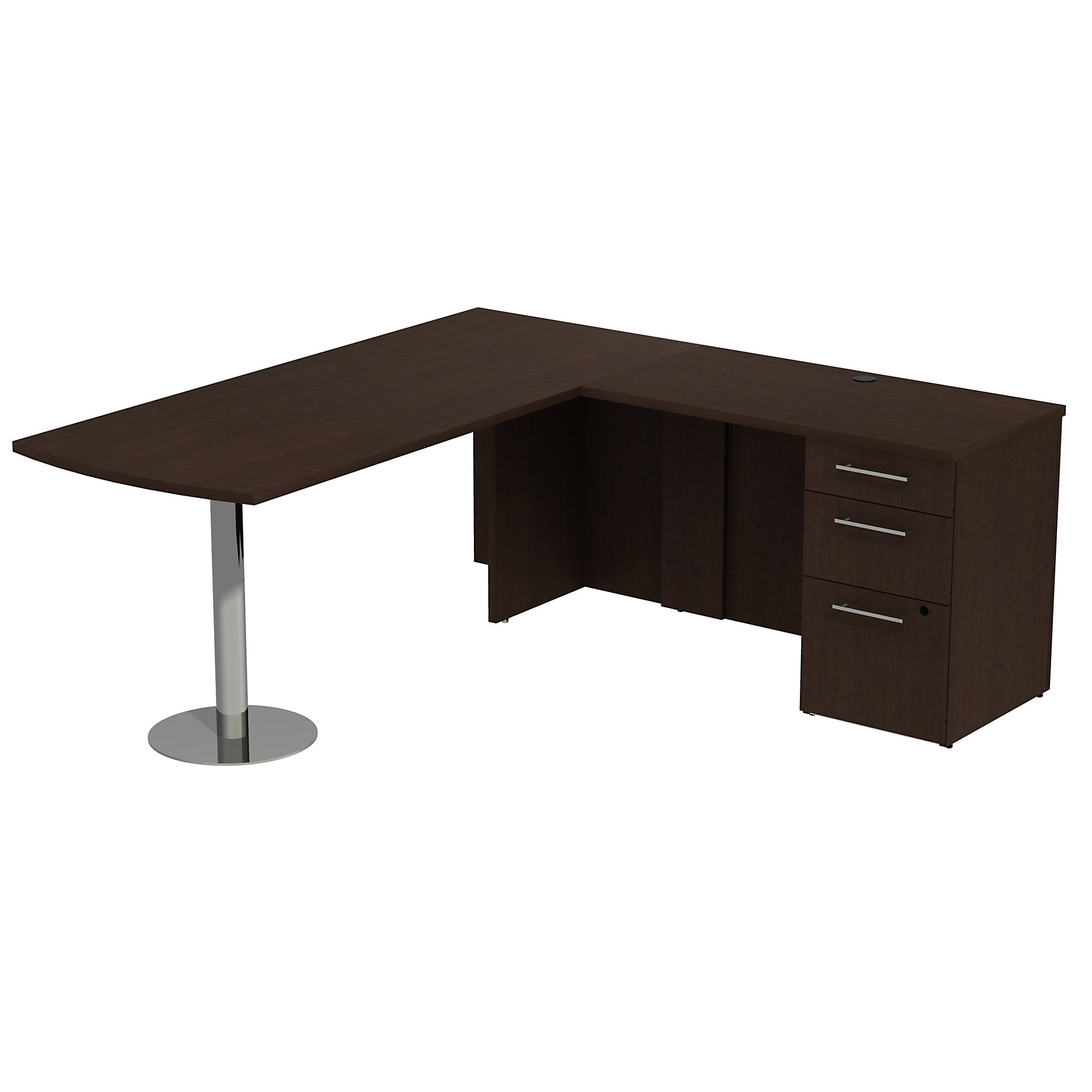 "Bush Business Furniture 300 Series 72""W x 30""D L Shaped Desk With Peninsula And 3 Drawer Pedestal, Mocha Cherry, Standard Delivery"