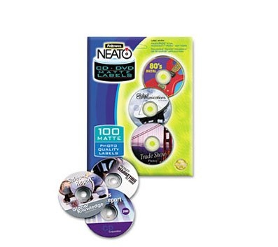 Fellowes® Neato® Inkjet/Laser CD Label Refills, Matte White, Pack Of 100