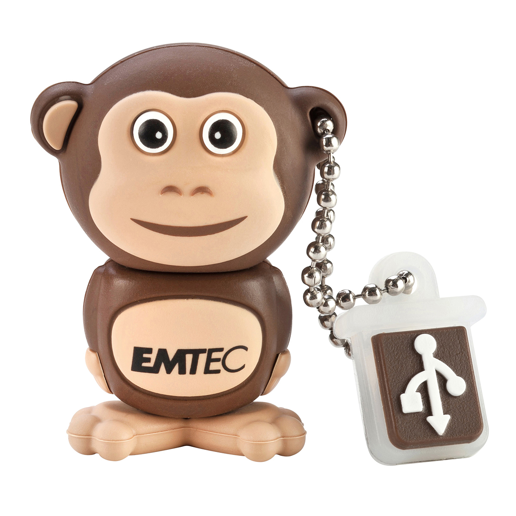 Emtec Animal Design USB 2.0 Flash Drive, 4GB, Monkey