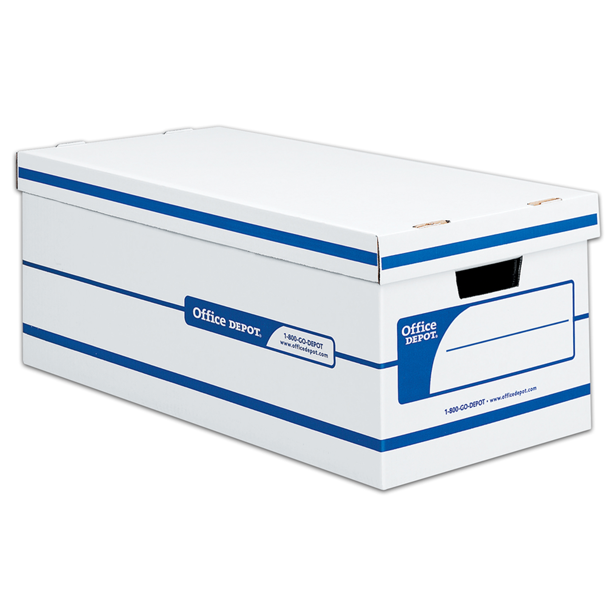 """Office Depot® Brand Quick Set Up Standard-Duty Storage Boxes With Lift-Off Lids And Built-In Handles, Letter Size, 24"""" x 12"""" x 10"""", 60% Recycled, White/Blue, Case Of 12"""