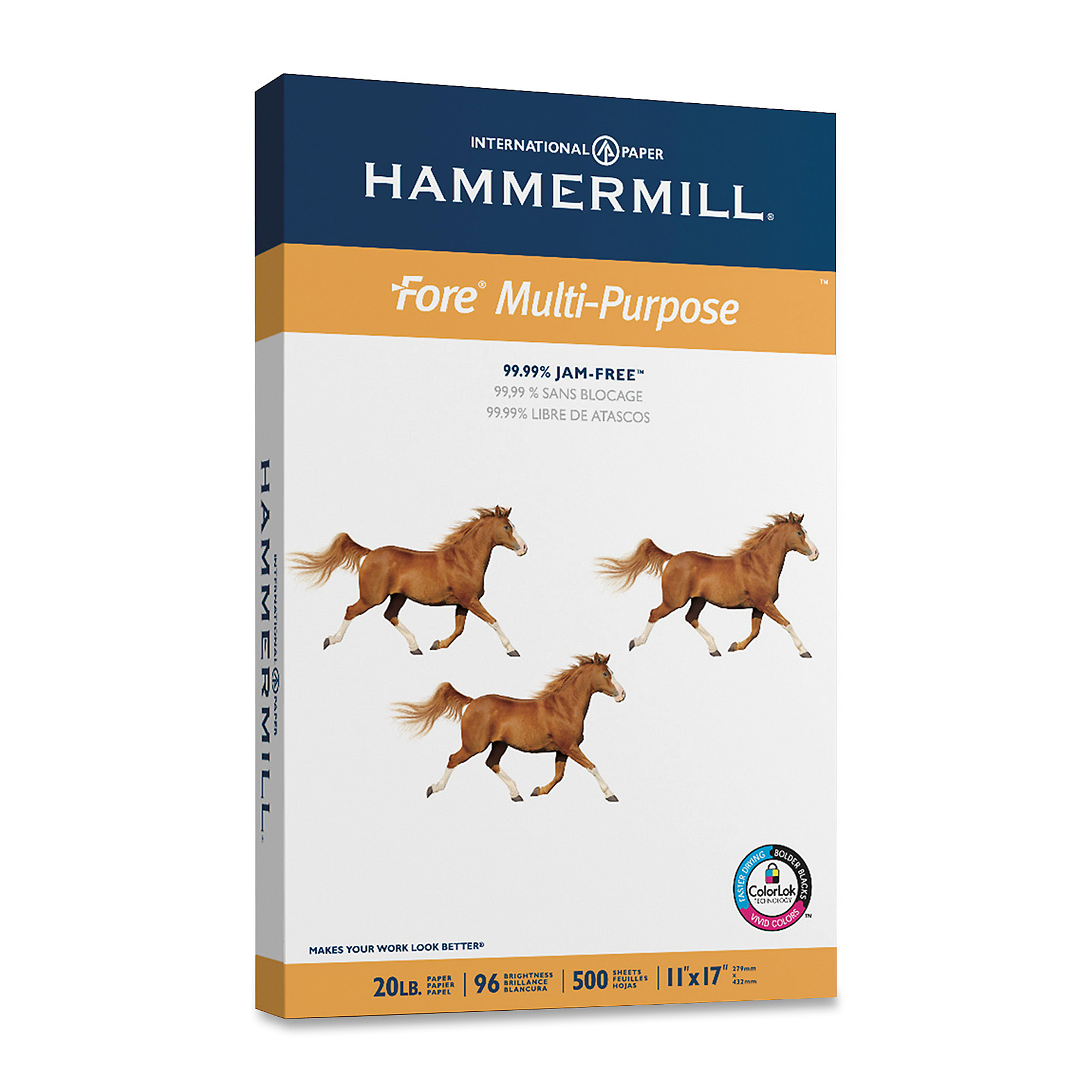 "Hammermill® Fore Multi-Use Paper, Ledger Size (11"" x 17""), 20 Lb, Ream Of 500 Sheets"