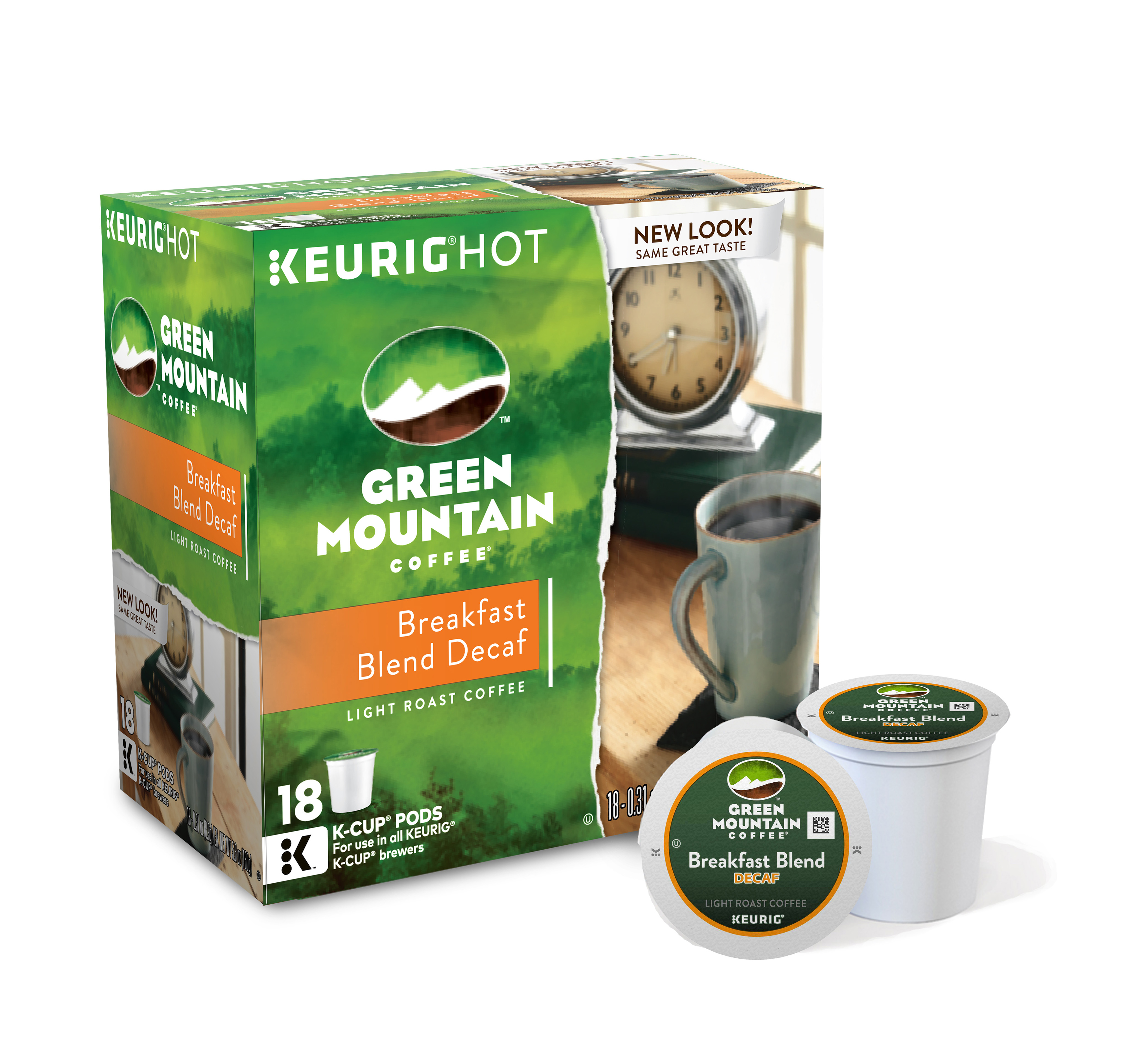 Green Mountain Coffee® Breakfast Blend Decaffeinated Coffee Single-Serve K-Cup®, Carton Of 18