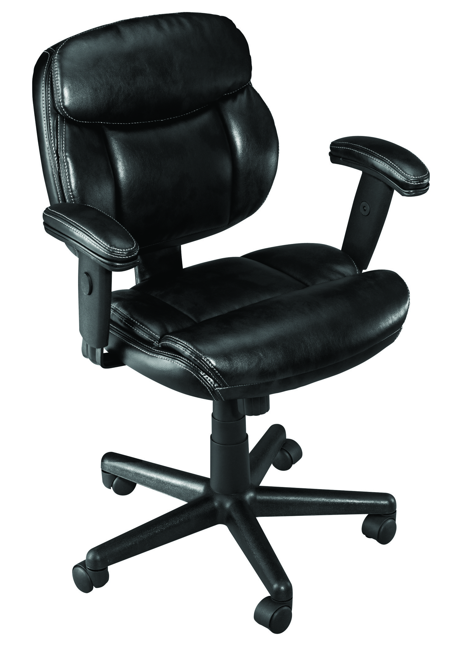 Brenton Studio® Ariel Bonded Leather Low-Back Task Chair, Black