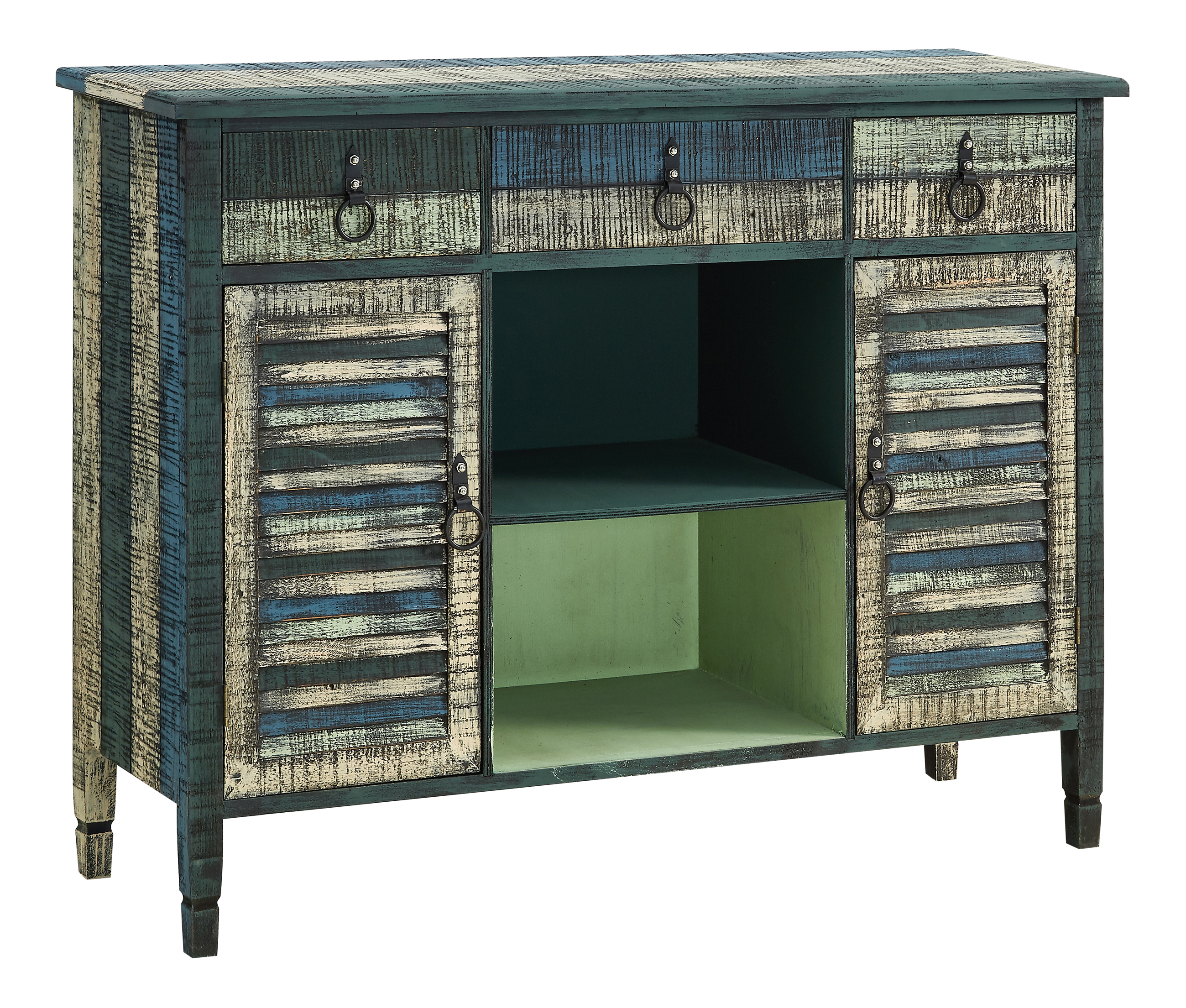 """Powell Bota 2-Door 3-Drawer Server Console Table, 35-15/16""""H x 47""""W x 14-3/4""""D, Weathered Multicolor"""
