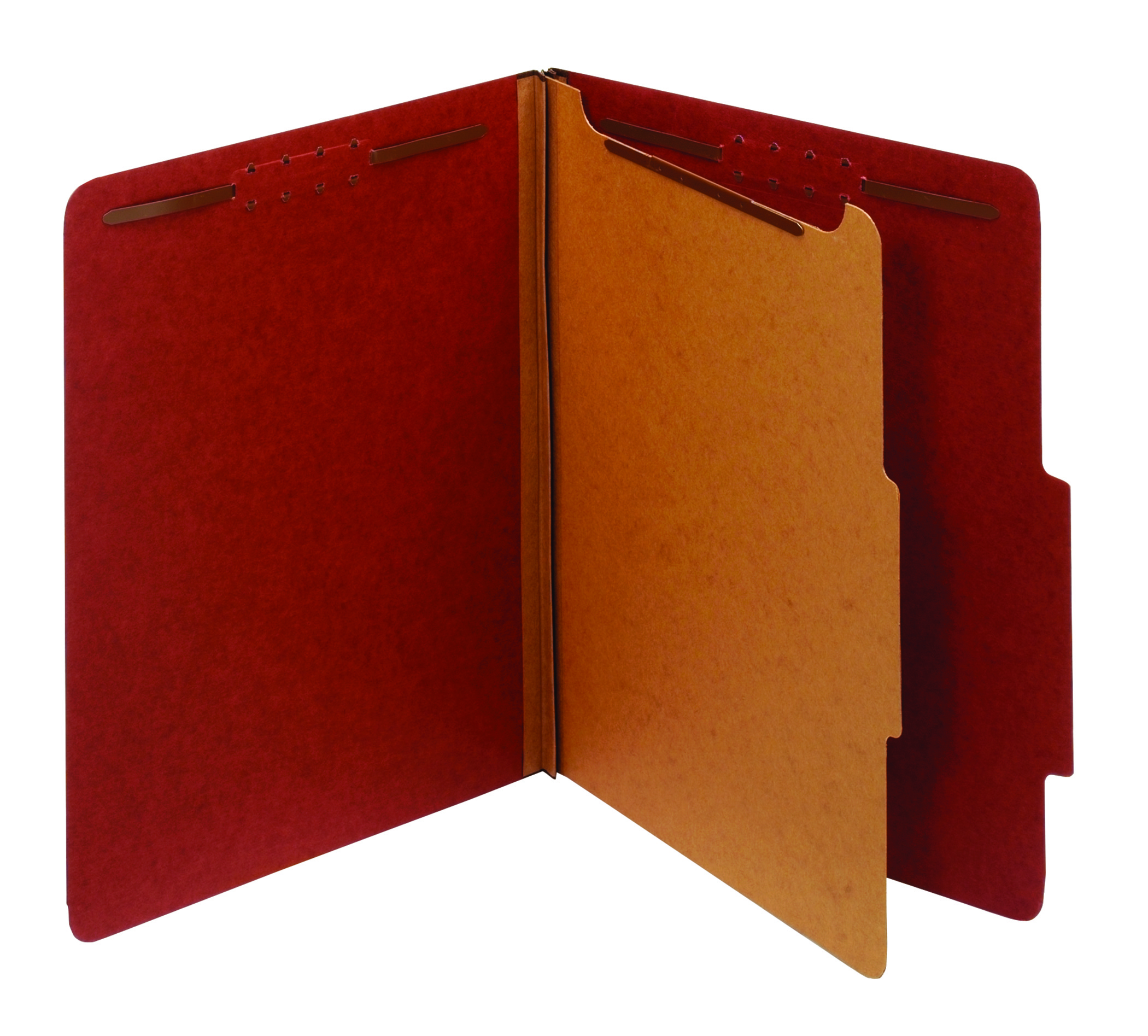 "Office Depot® Classification Folder, 1 Divider, Letter Size (8-1/2"" x 11""), 1-3/4"" Expansion, Red"