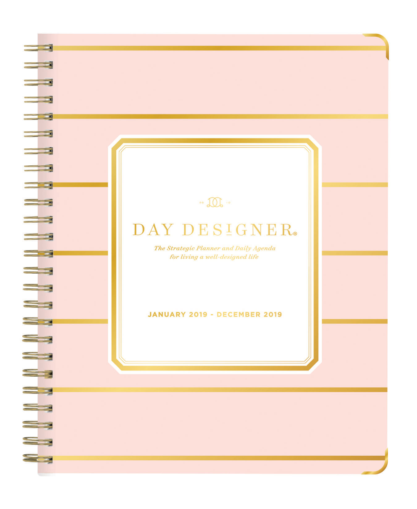 "Day Designer For Blue Sky™ Weekly/Monthly Planner, 6"" x 8"", Skinny Blush Stripe, January 2019 to December 2019"