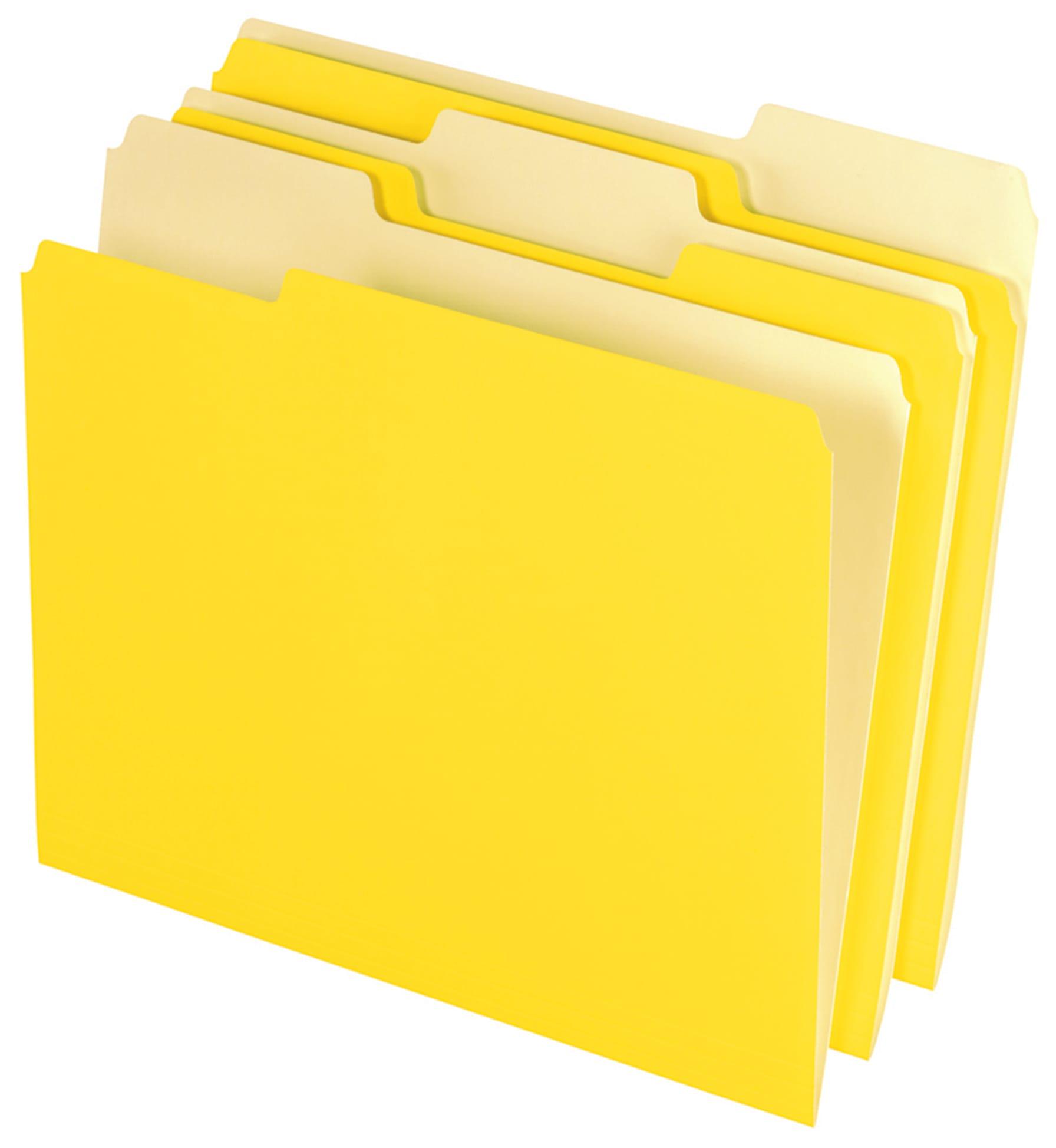 Office Depot® Brand Interior File Folders, 1/3 Tab Cut, Letter Size, Yellow, Box Of 100 Folders