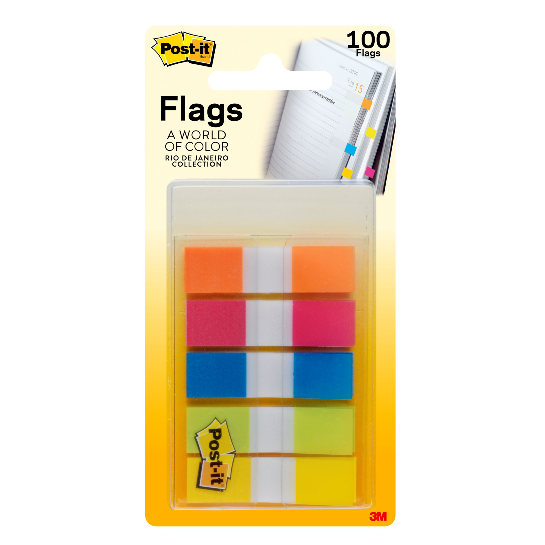 "Post-it® Flags, Rio de Janiero, 1/2"" x 1 3/4"", Assorted Colors, 20 Sheets Per Pad, Pack Of 5 Pads"