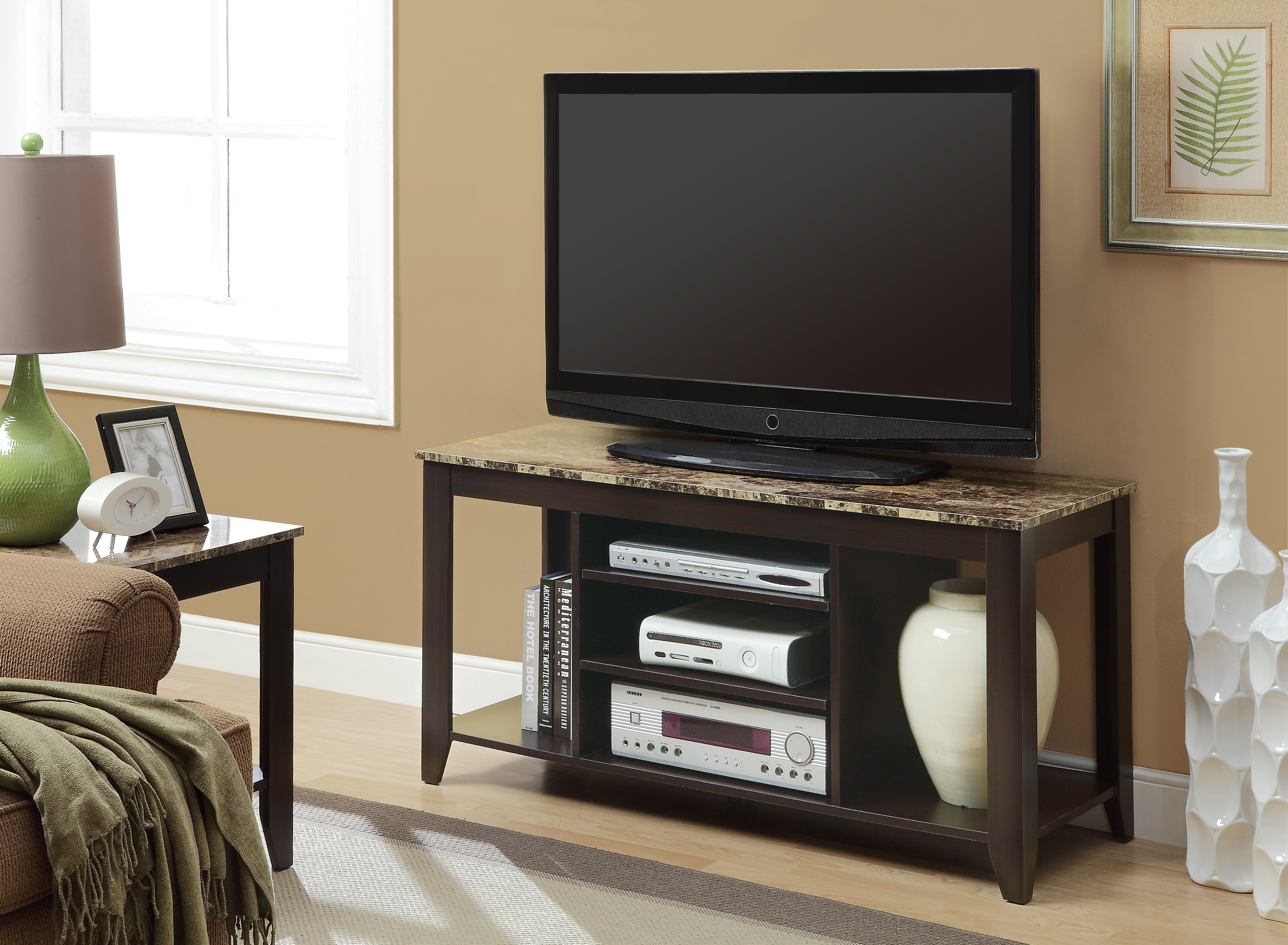 "Monarch Specialties Marble-Top TV Stand For TVs Up To 48"", Cappuccino/Cream"