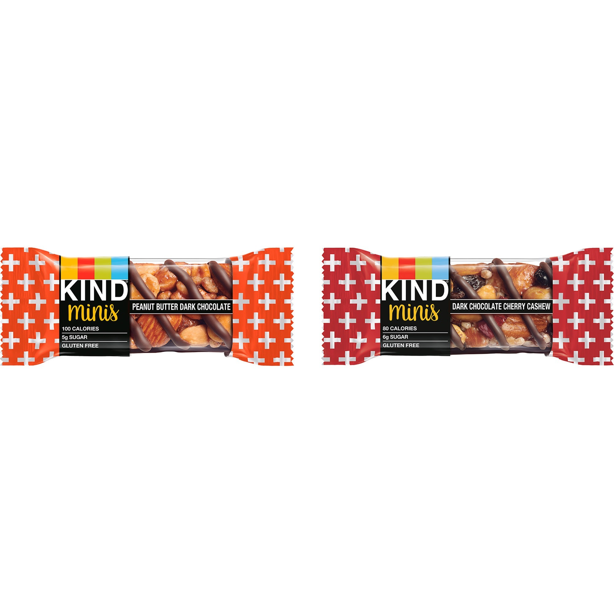 KIND Minis Snack Bar Variety Pack - Gluten-free, Low Sodium, Trans Fat Free, Individually Wrapped, No Artificial Sweeteners - Dark Chocolate Cherry Cashew, Peanut Butter Dark Chocolate - 0.71 oz - 10 / Box