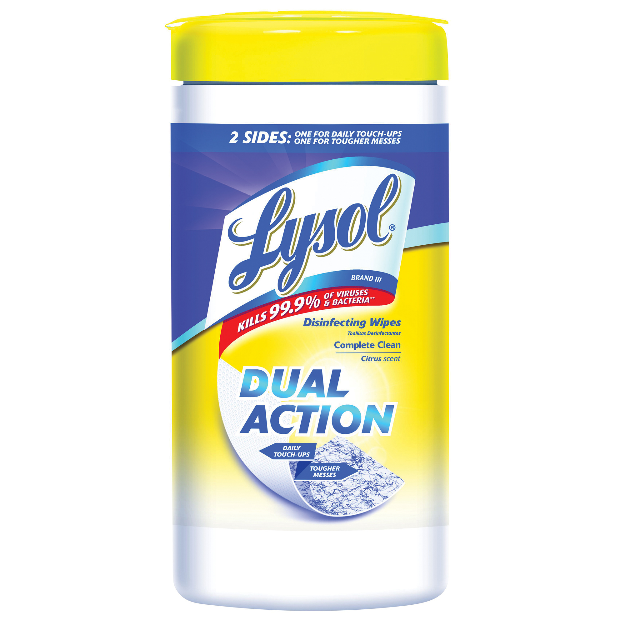 """Lysol® Dual-Action Disinfecting Wipes, Citrus Scent, 7"""" x 8"""", Container Of 75"""