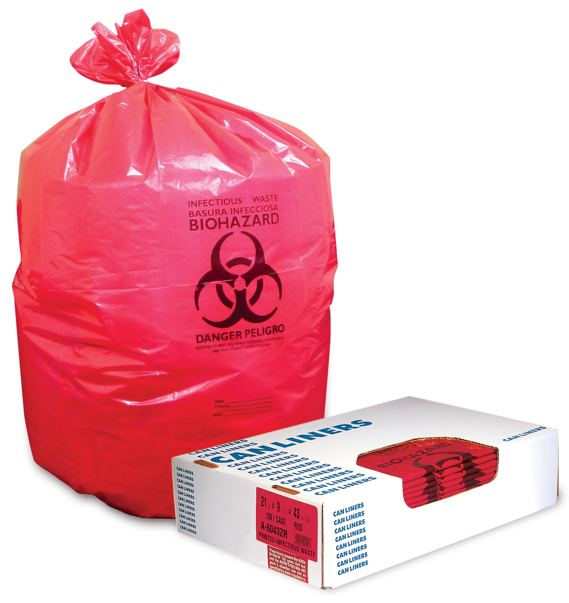 """Heritage Biohazard Can Liners, 8-10 Gallons, 24"""" x 23"""", 1.3 Mil., Red, Box Of 500"""
