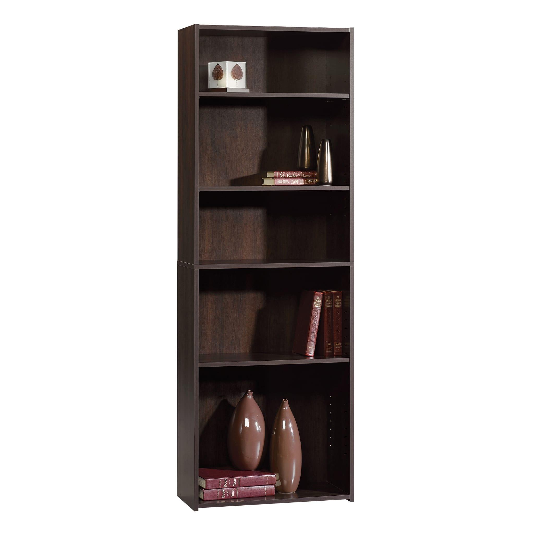 "Sauder® Beginnings 71 3/16"" 5 Shelf Transitional Bookcase, Red/Dark Finish, Standard Delivery"