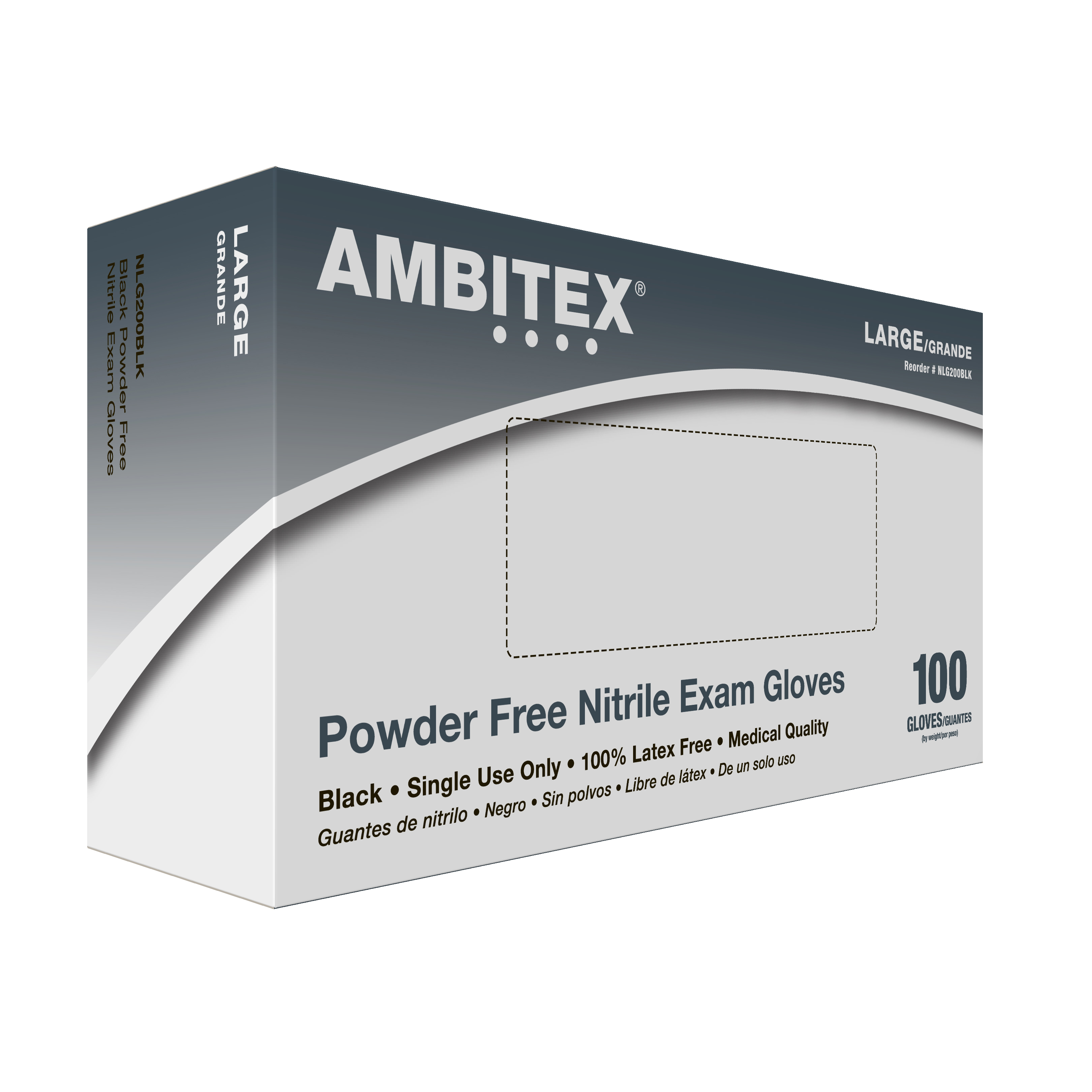 Tradex International Powder-Free Nitrile General Purpose Gloves, Large, Black, Box Of 100