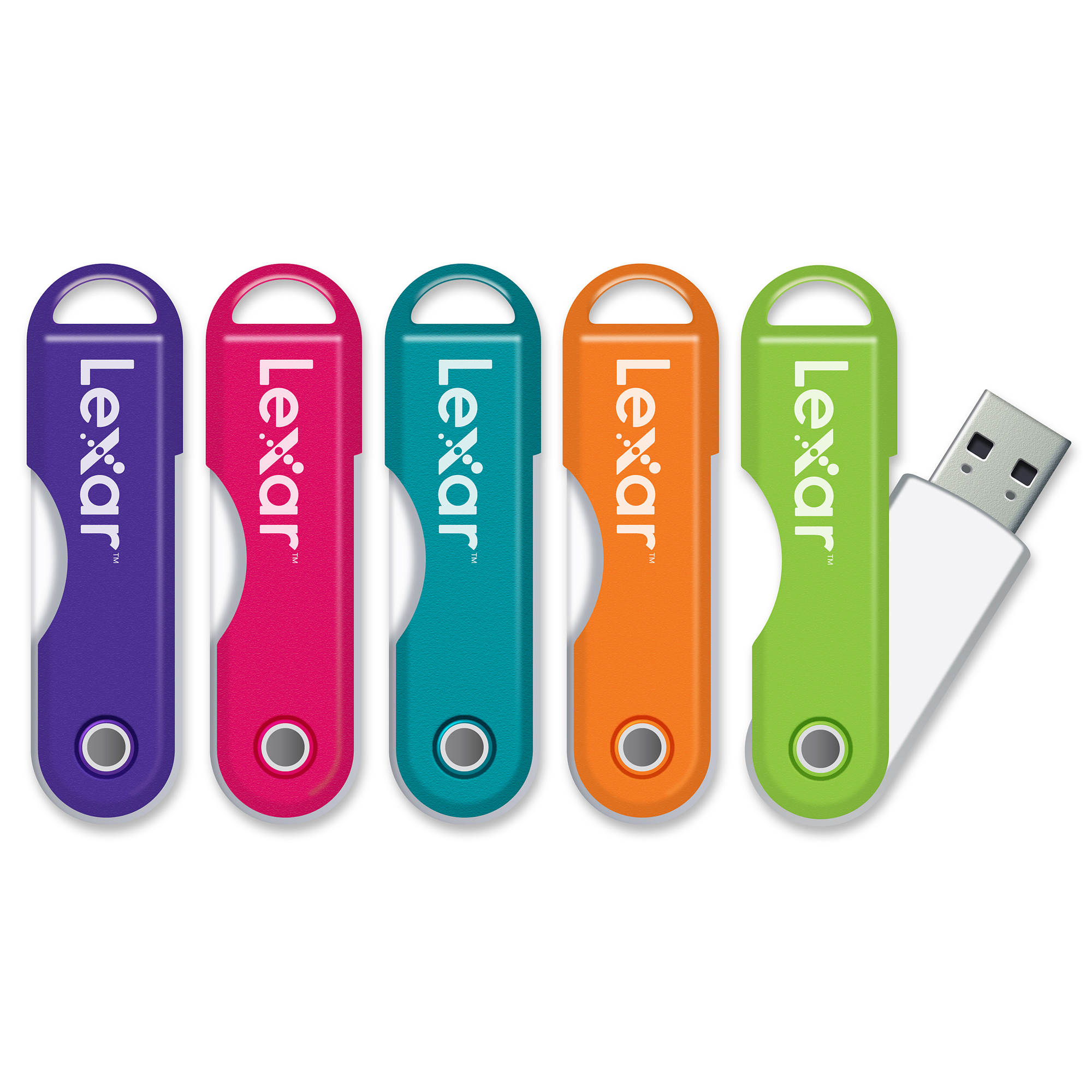 Lexar® JumpDrive® TwistTurn USB 2.0 Flash Drive, 8GB, Assorted Colors (No Color Choice)
