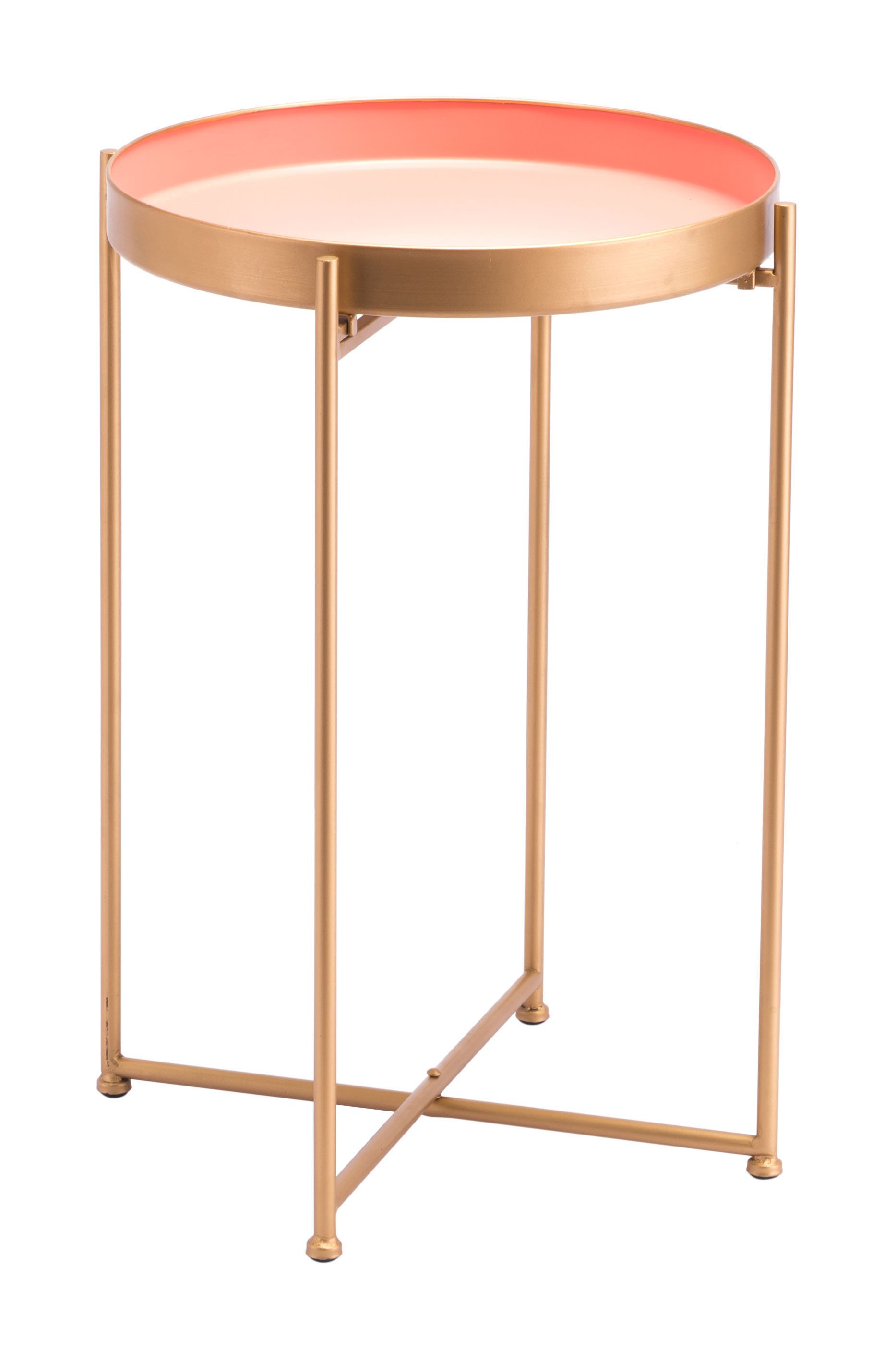 Zuo Modern Red Tall End Table, Round, Pink/Gold