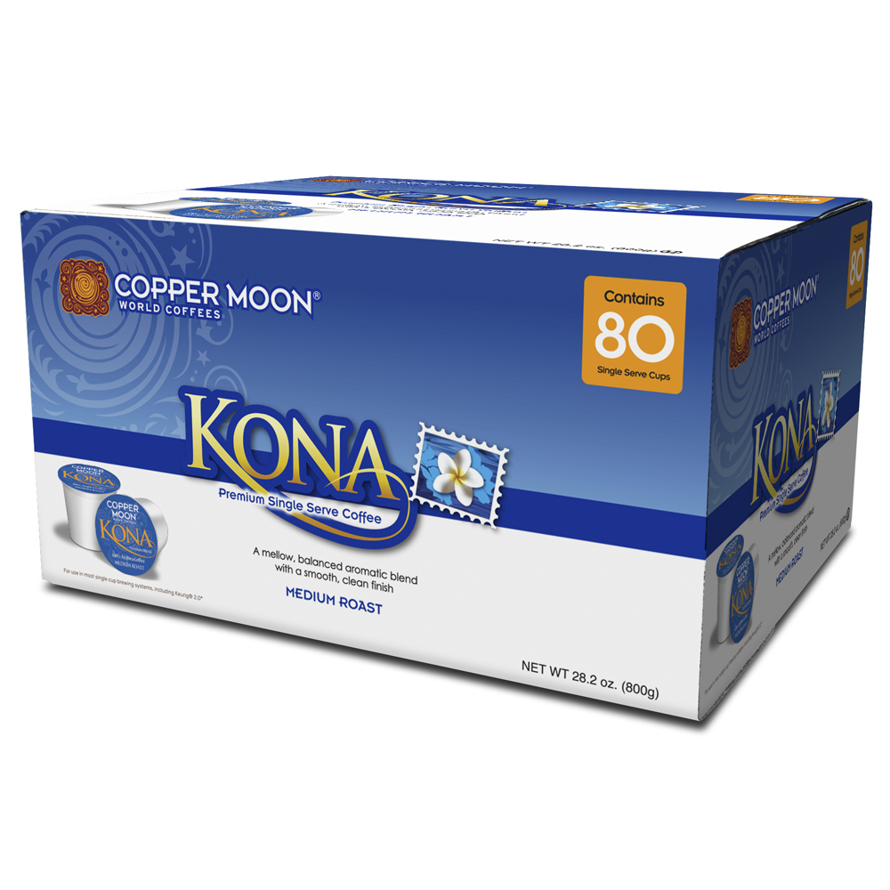 Copper Moon® Coffee, Kona Blend, 0.35 Oz, Case Of 80 Pods