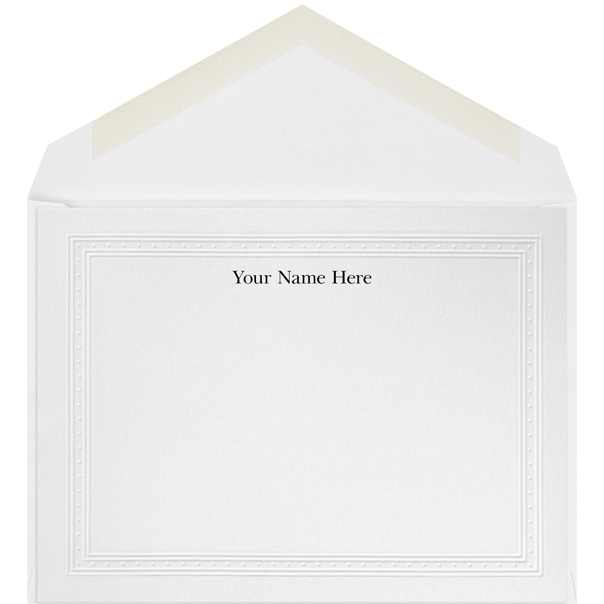 "The Occasions Group Stationery Note Cards, 4 1/2"" x 6 1/4""W, Flat, Embossed Dot Border, White Matte, Box Of 25"