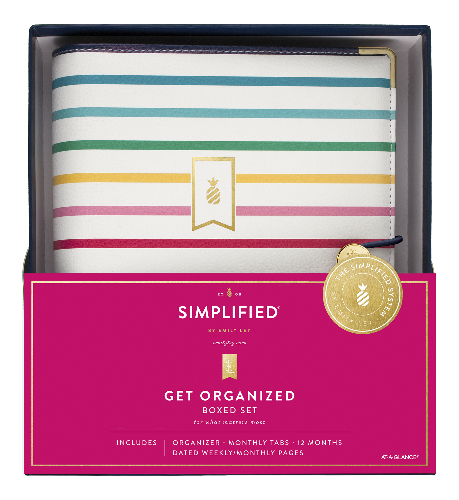 """AT-A-GLANCE® Simplified By Emily Ley Weekly/Monthly Organizer Gift Set, 5-1/2"""" x 8-1/2"""", Pineapple Stripe, January To December 2020, EL100-411"""